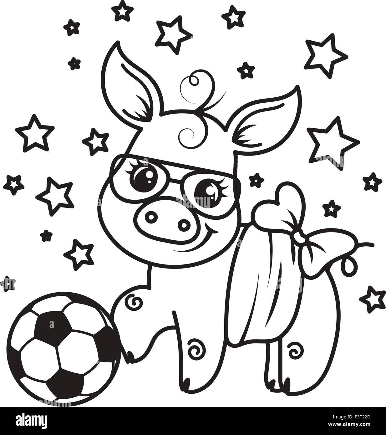 Ballon Pour Coloriage.Cute Cartoon Pig Avec Un Ballon De Football Vector Illustration