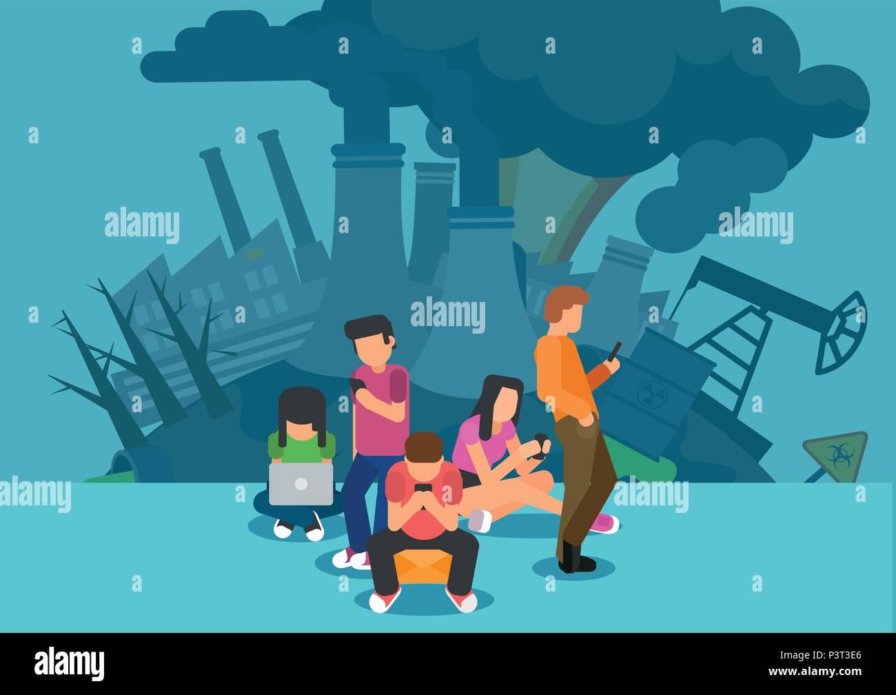 L'utilisation de l'énergie et les émissions de gaz à effet de serre dans les médias numériques et l'empreinte carbone de l'internet concept Photo Stock