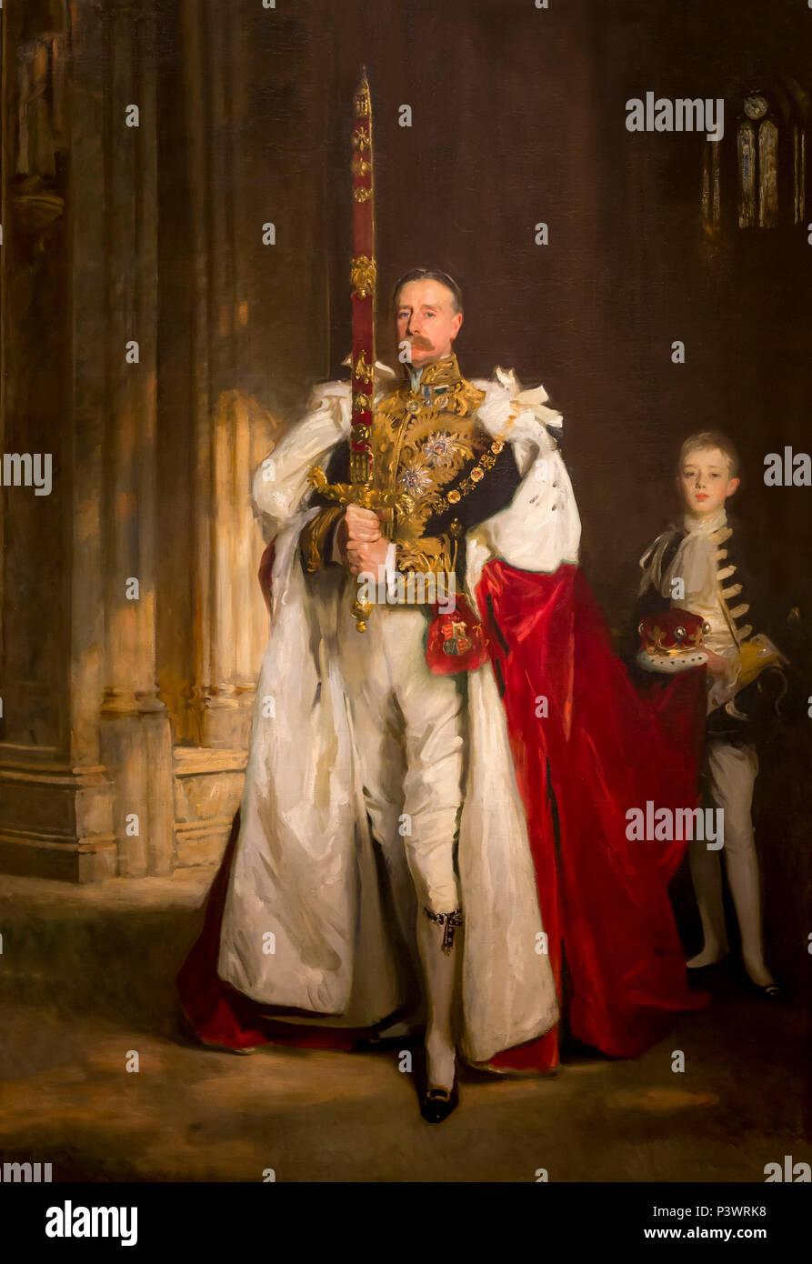 Charles Stewart Sixième Marquis de Londonderry, portant la grande Epée de l'Etat au couronnement du roi Édouard VII, août 1902, et M. W C Beaumo Photo Stock