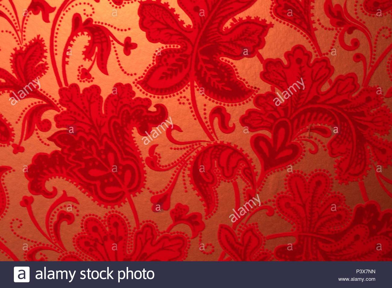 Retro Vintage Papier Peint Texture En Velours Rouge Avec Motif