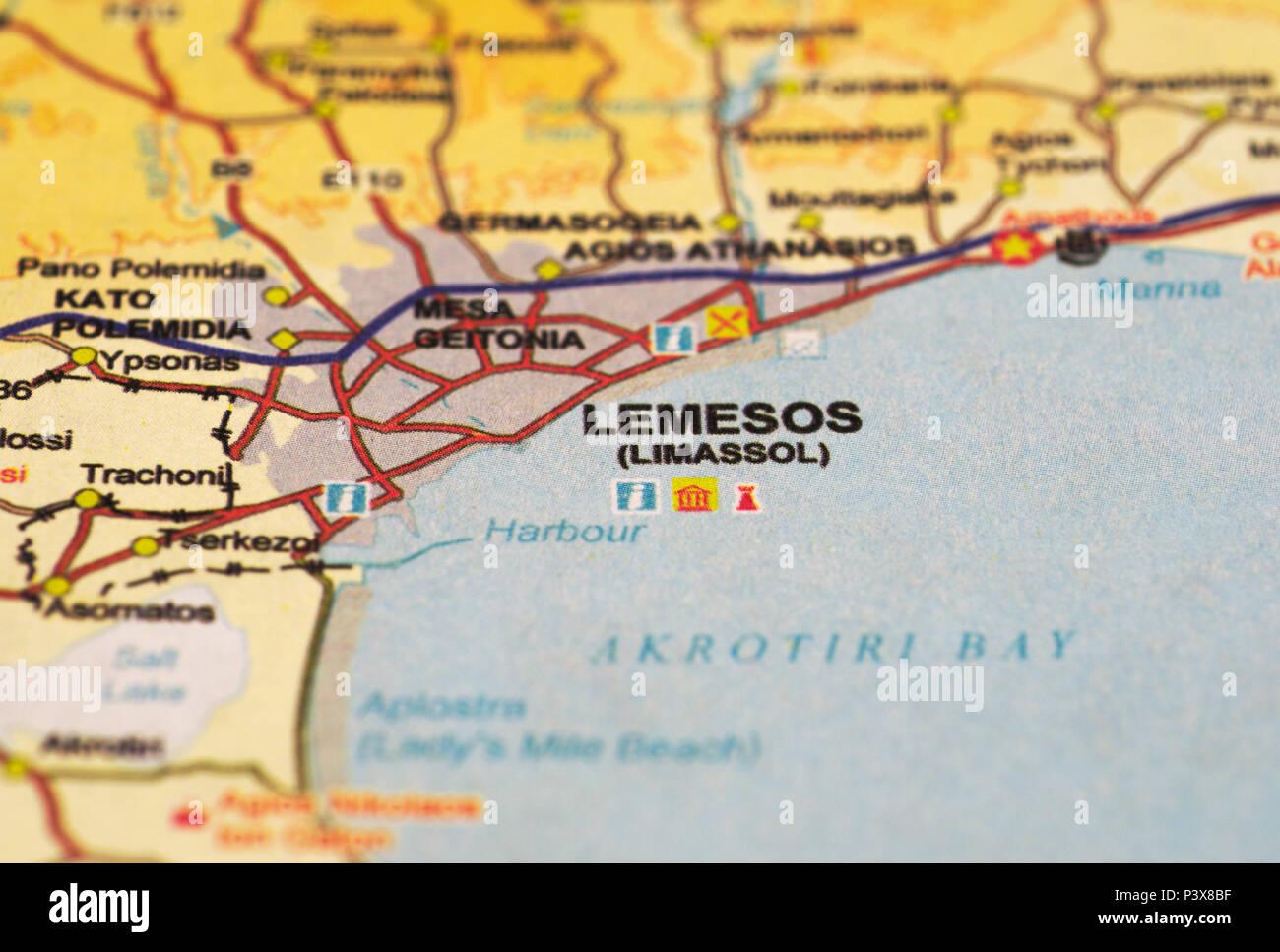 Carte Limassol Chypre.Carte De L Ile Limassol Chypre Banque D Images Photo