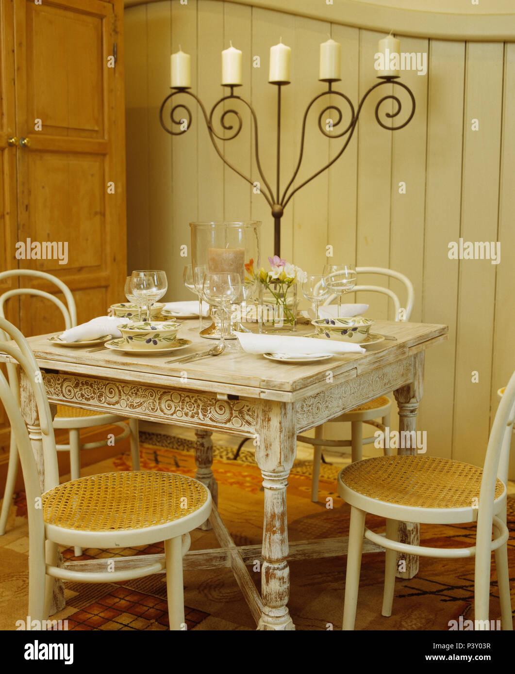 Chaise Fer Forgé Et Bois chaises en bois cintré à lime-lavés set de table pour le