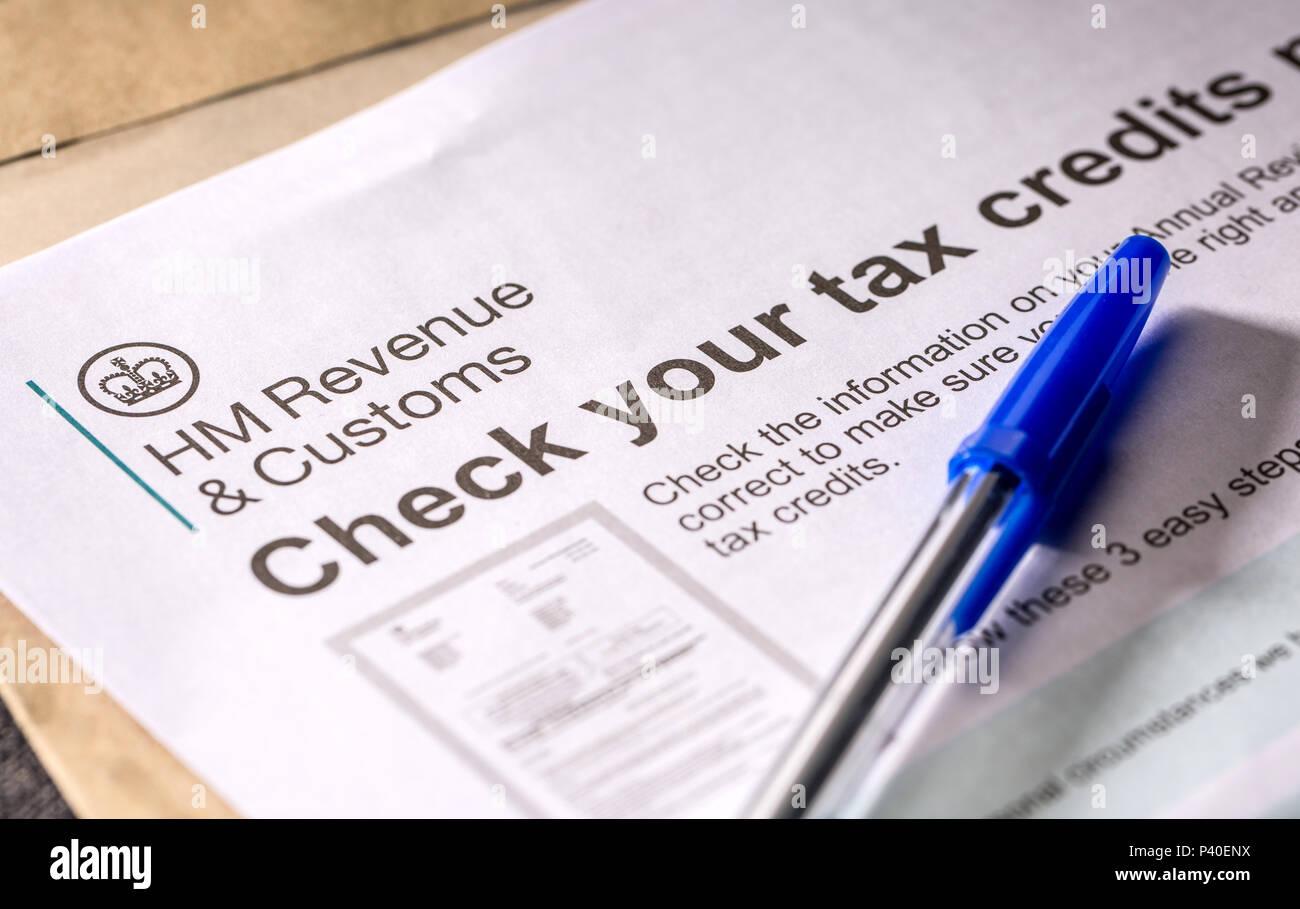 Lettre des crédits d'impôt Famille Photo Stock