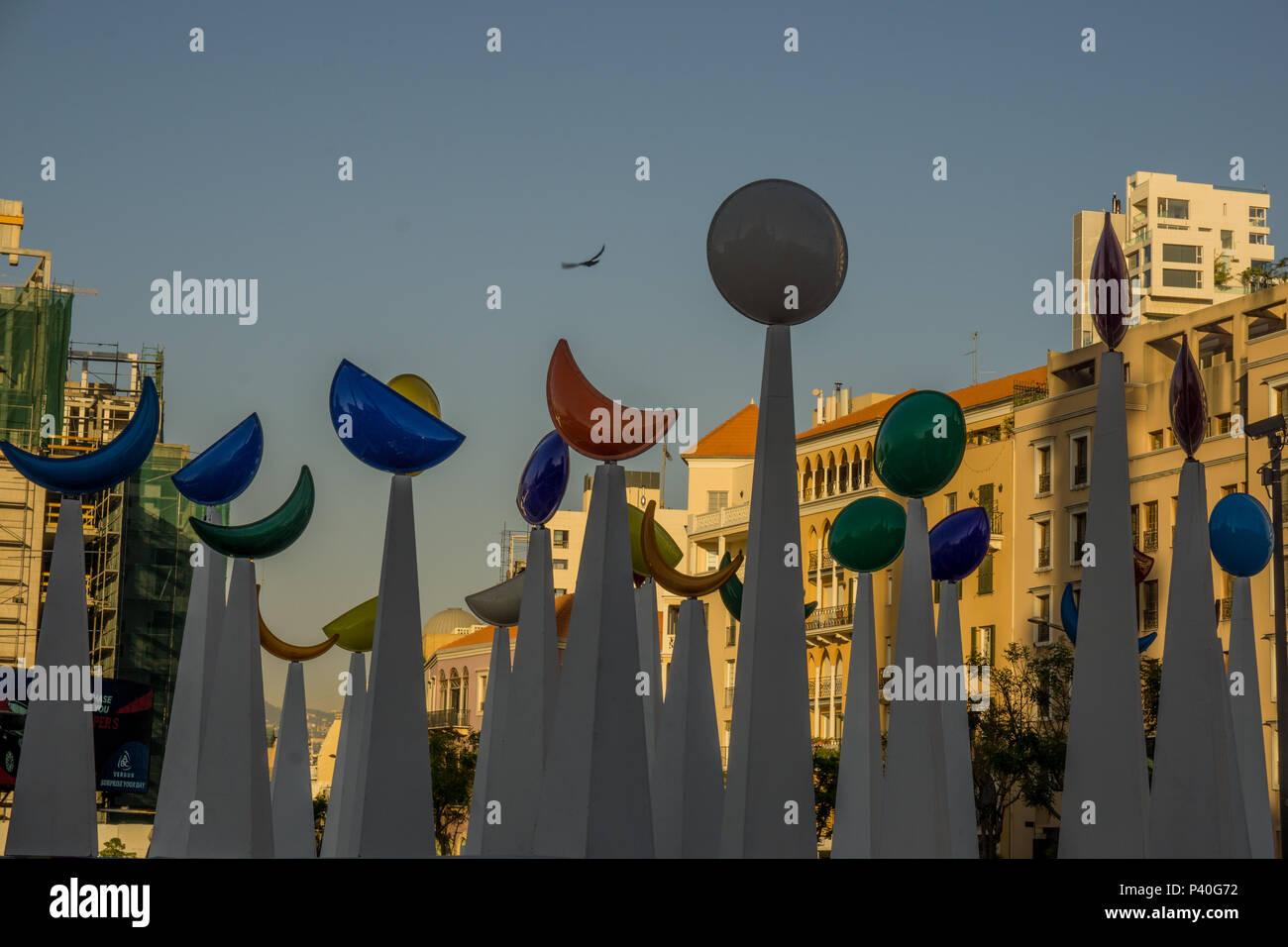 Ramadan croissant de lune décorations à Beyrouth Photo Stock