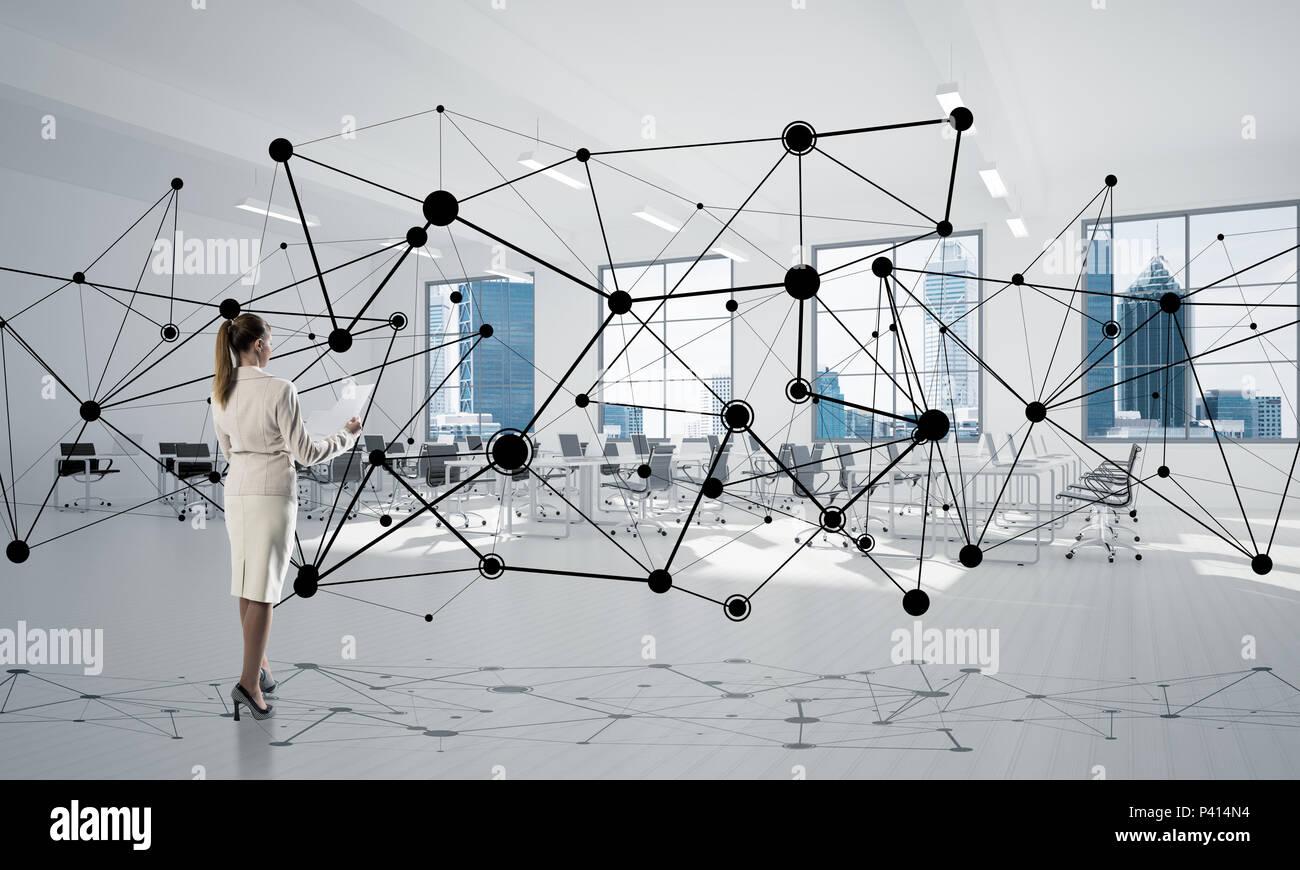 La mise en réseau et la communication sociale concept comme point efficace pour l'entreprise moderne Banque D'Images