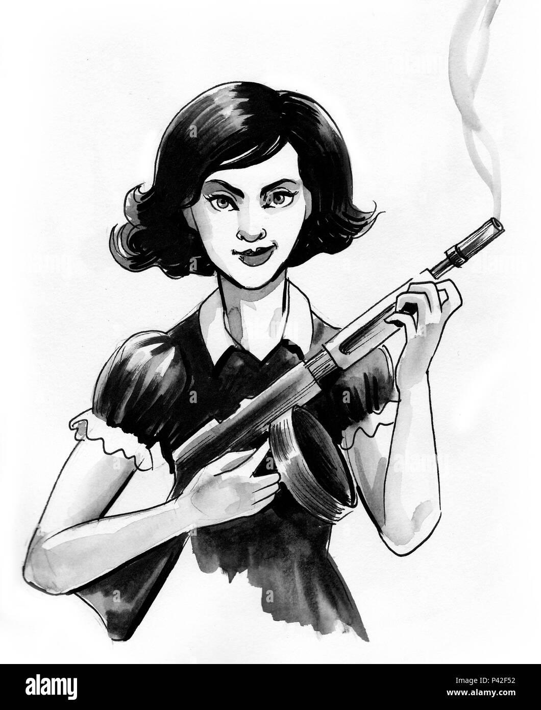 Jolie Fille Avec Un Tommy Gun Dessin Noir Et Blanc Encre