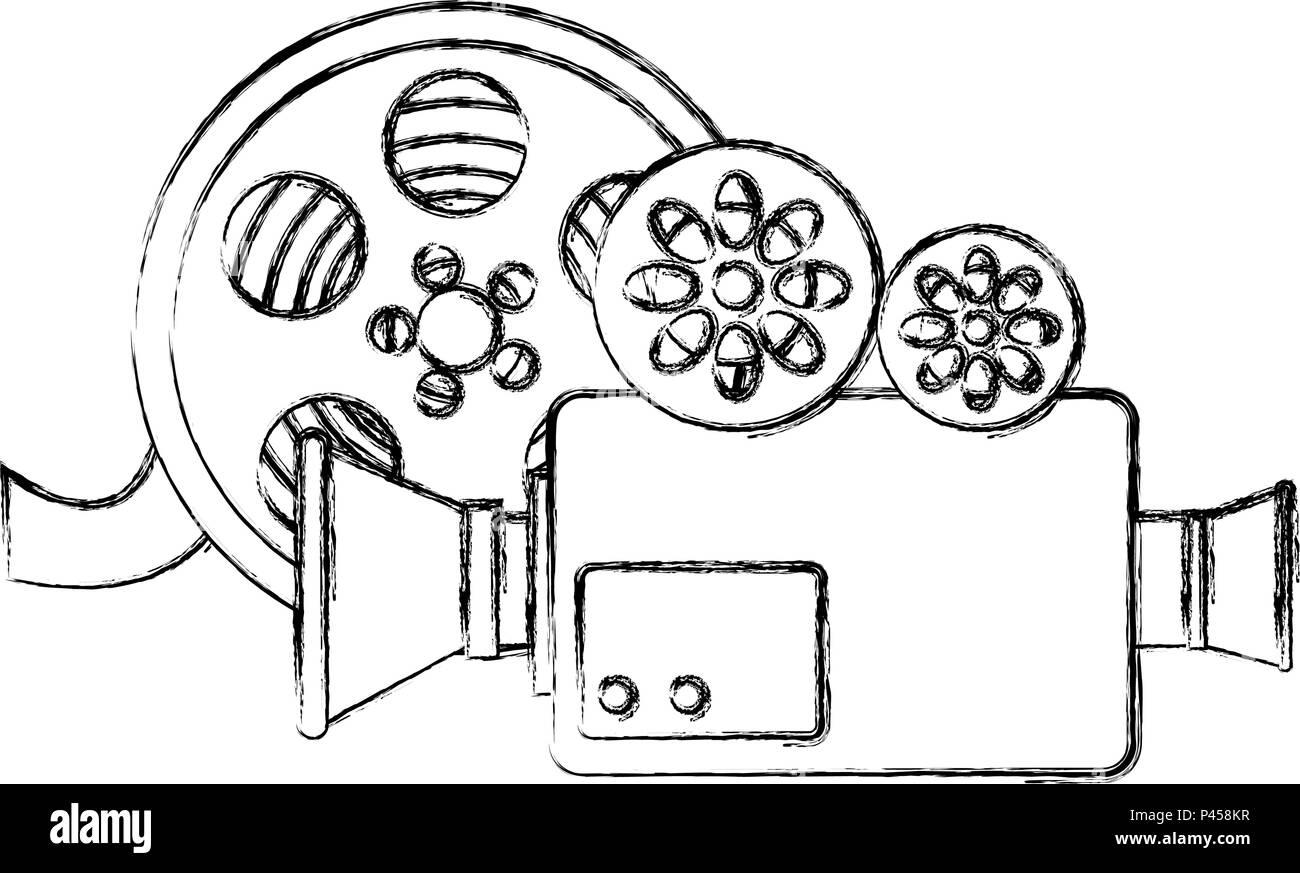 Caméra vidéo avec reel Illustration de Vecteur