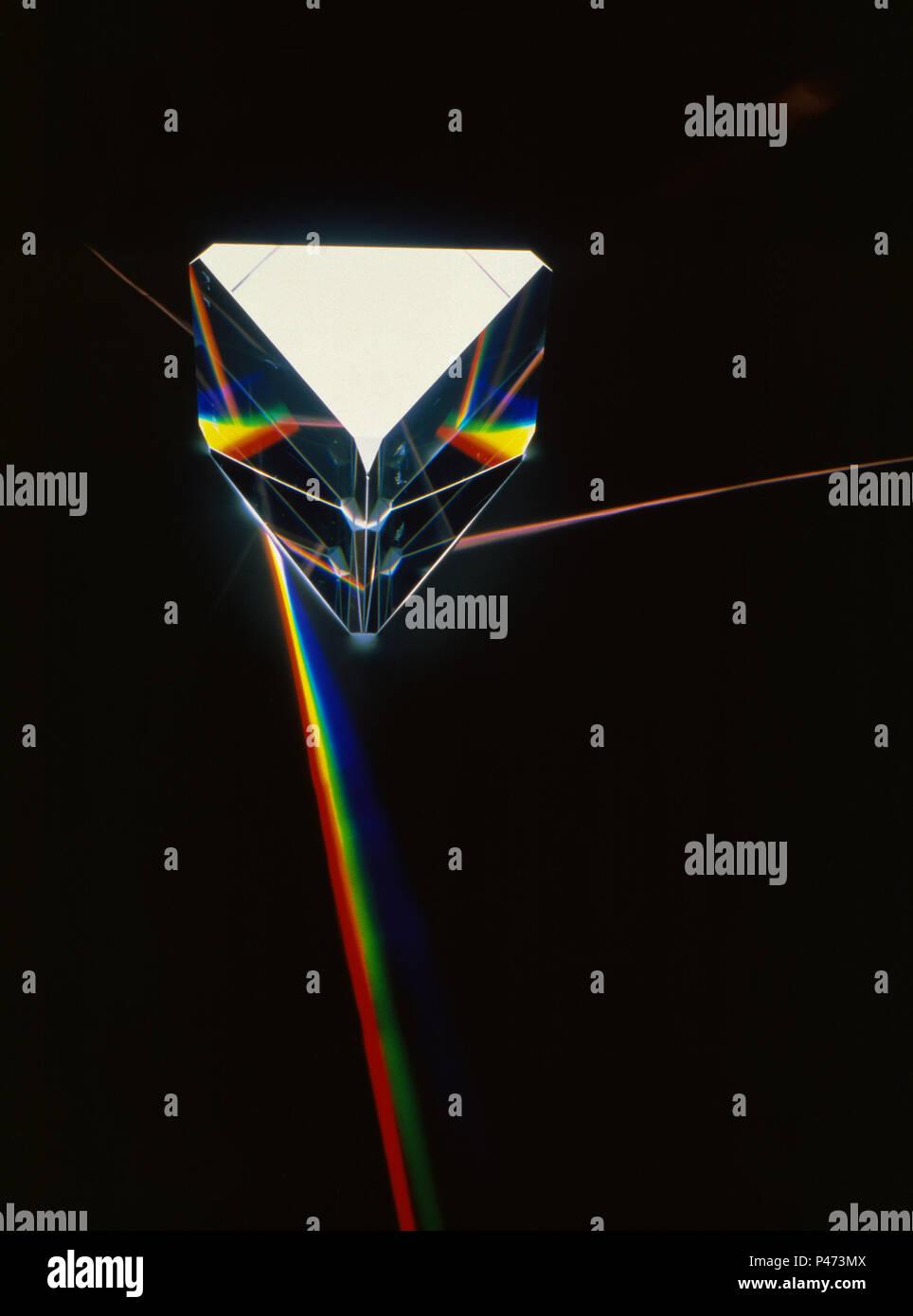 La lumière réfractée à travers un prisme Photo Stock
