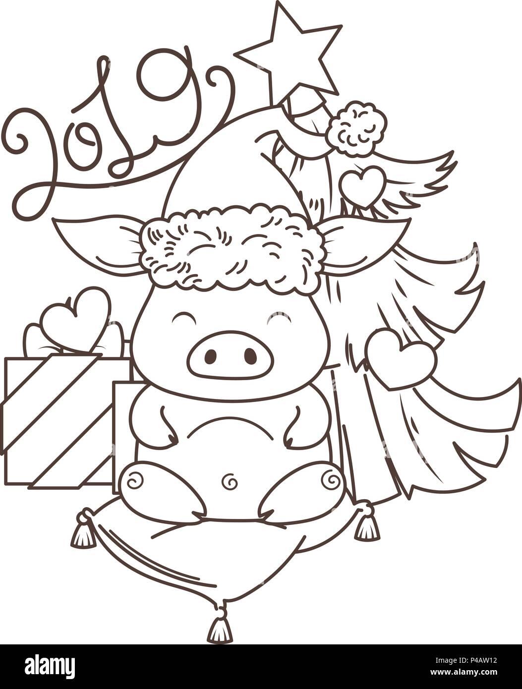 Coloriage Chat Chinois.Cute Cartoon Chat En Amour Avec Maison De Vacances Arbre Symbole De