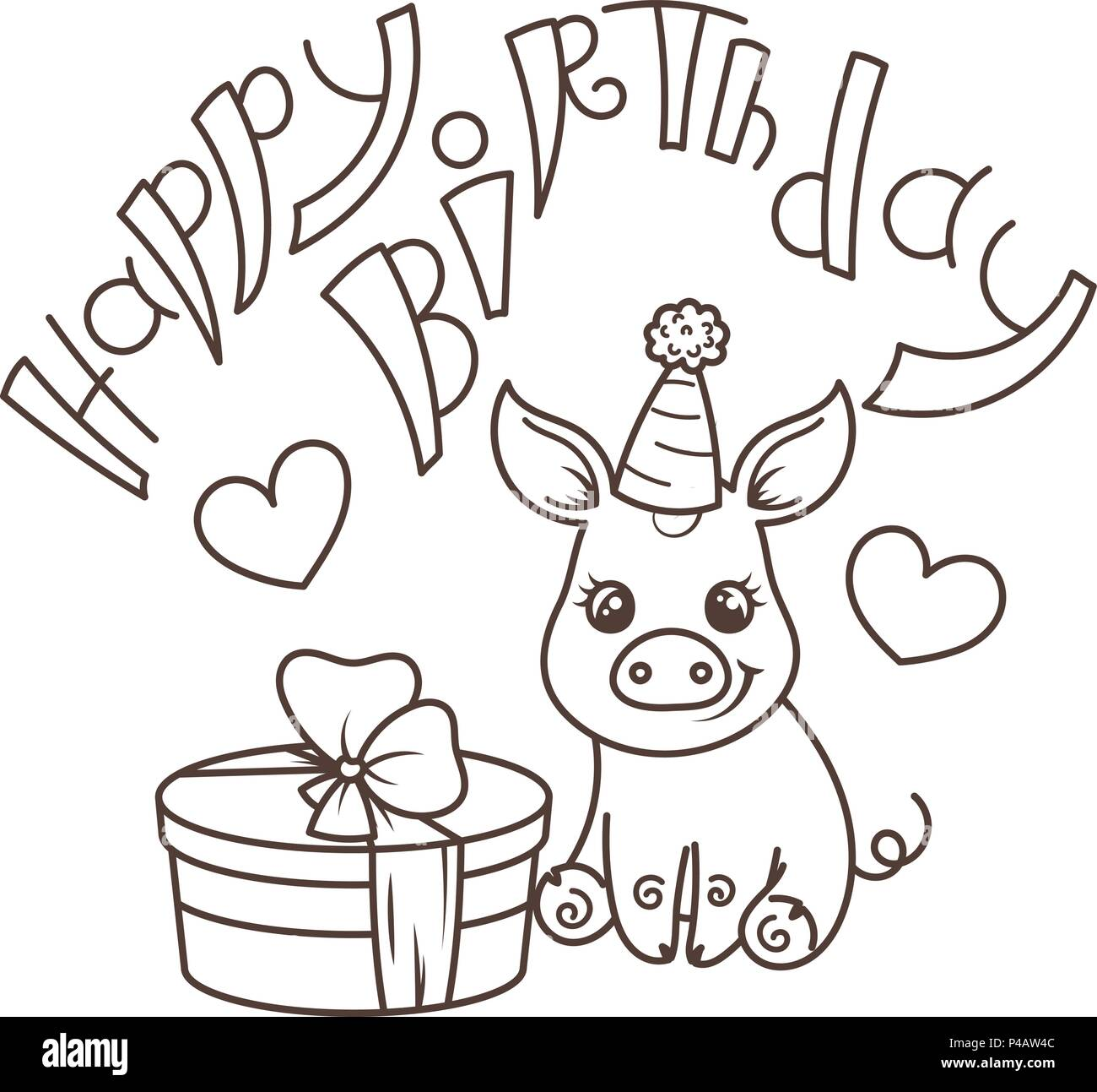Coloriage Maison Cochon.Joyeux Anniversaire Cute Cartoon Bebe Cochon Avec Maison De