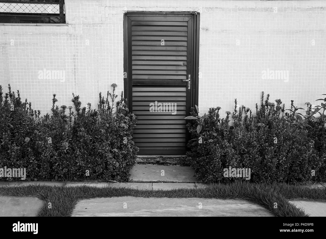 Revetement Mur Exterieur Pierre l'herbe en pierre marbre à l'extérieur de porte en métal de
