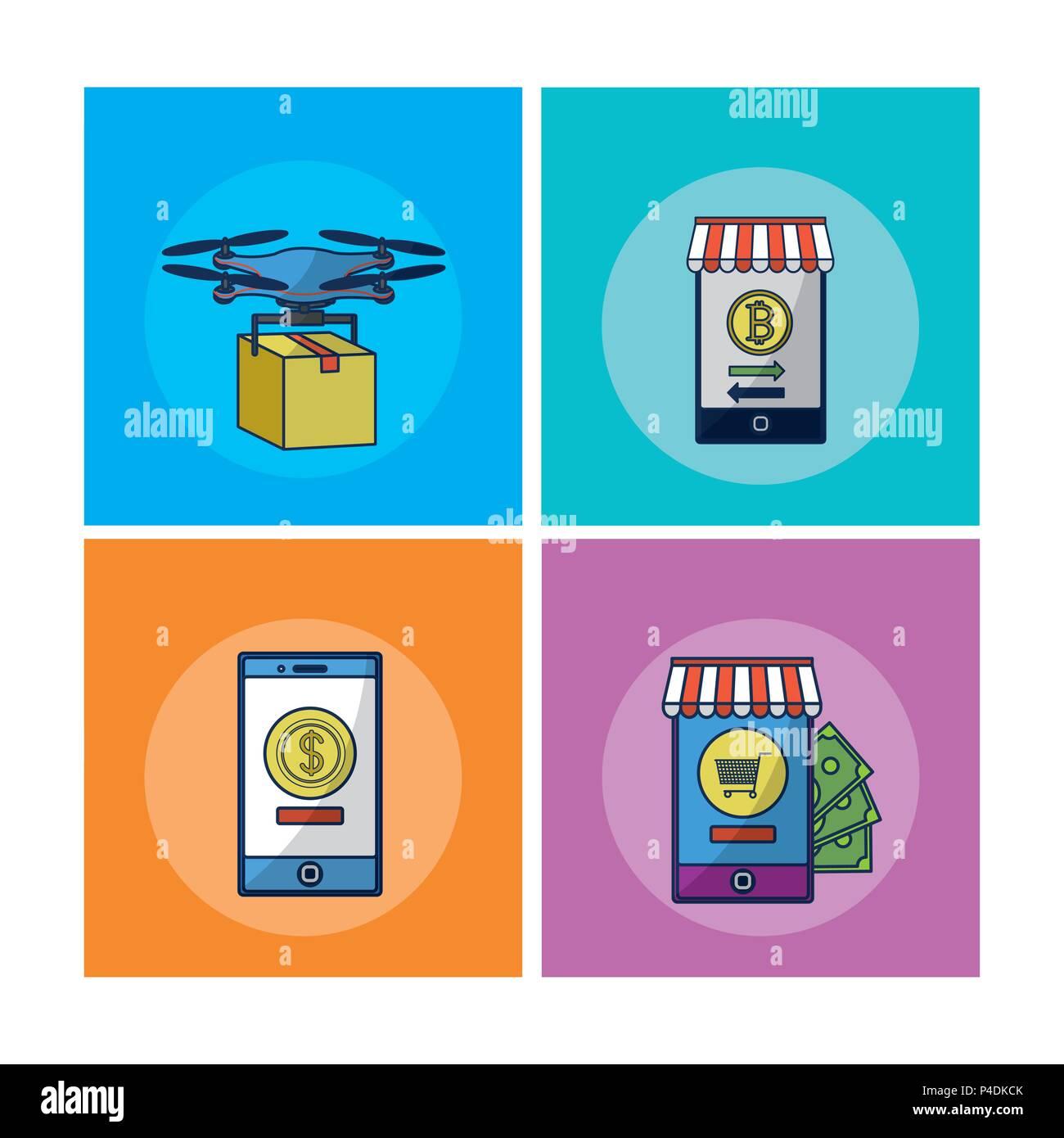 La technologie financière cadres carrés Photo Stock