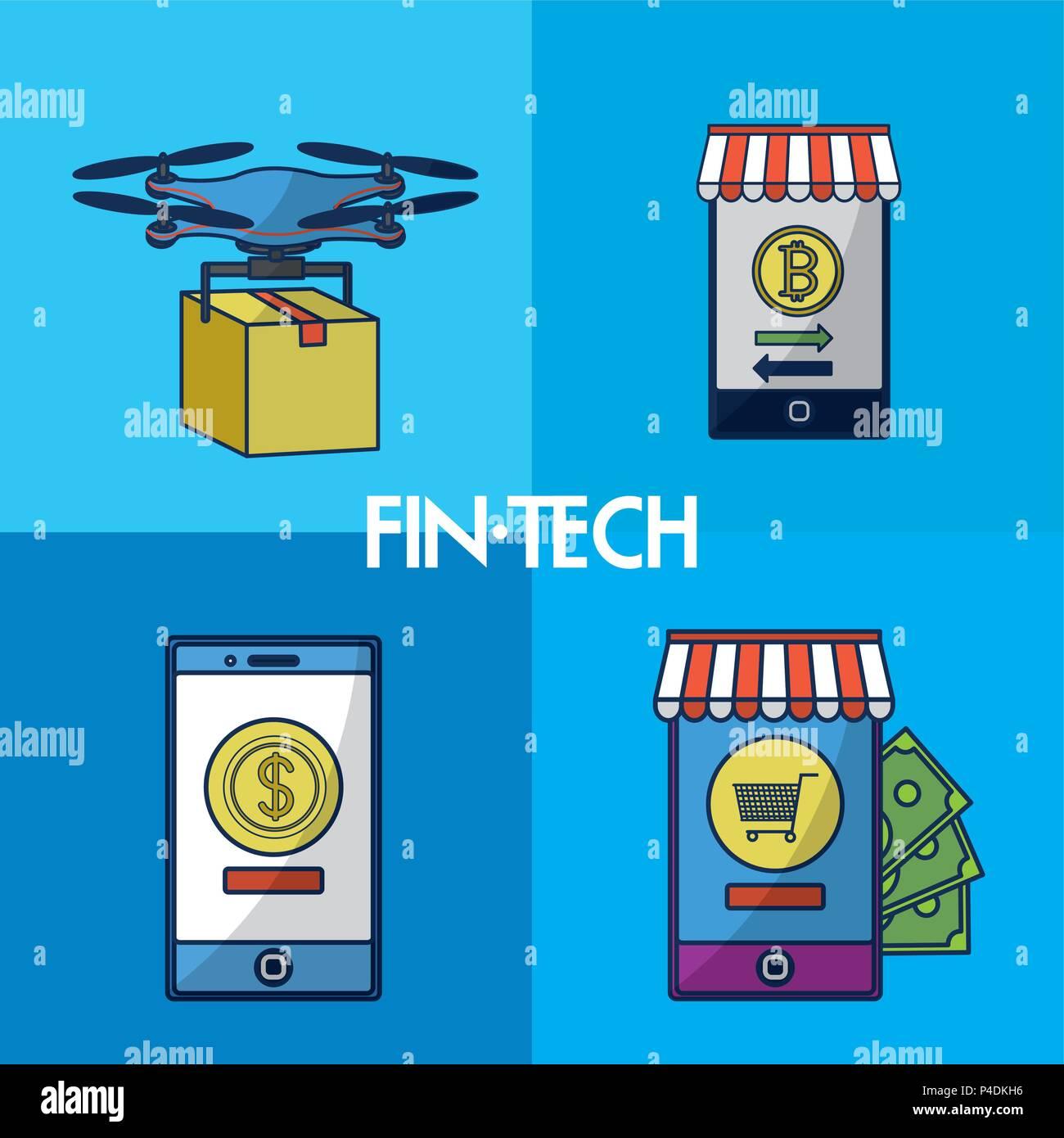 La technologie financière cadres carrés Illustration de Vecteur