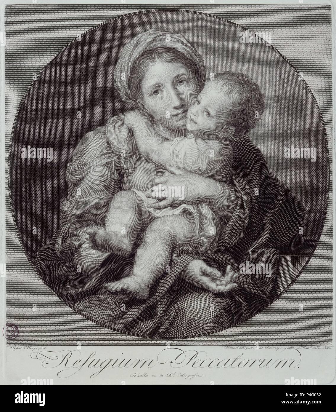 REFUGIUM PECCATORUM - GRAVURE POR MANUEL ESQUIVEL DE SOTOMAYOR EN 1802. Auteur: Anton Raphael Mengs (1728-1779). Emplacement: BIBLIOTECA NACIONAL-COLECCION, MADRID, ESPAGNE. Banque D'Images