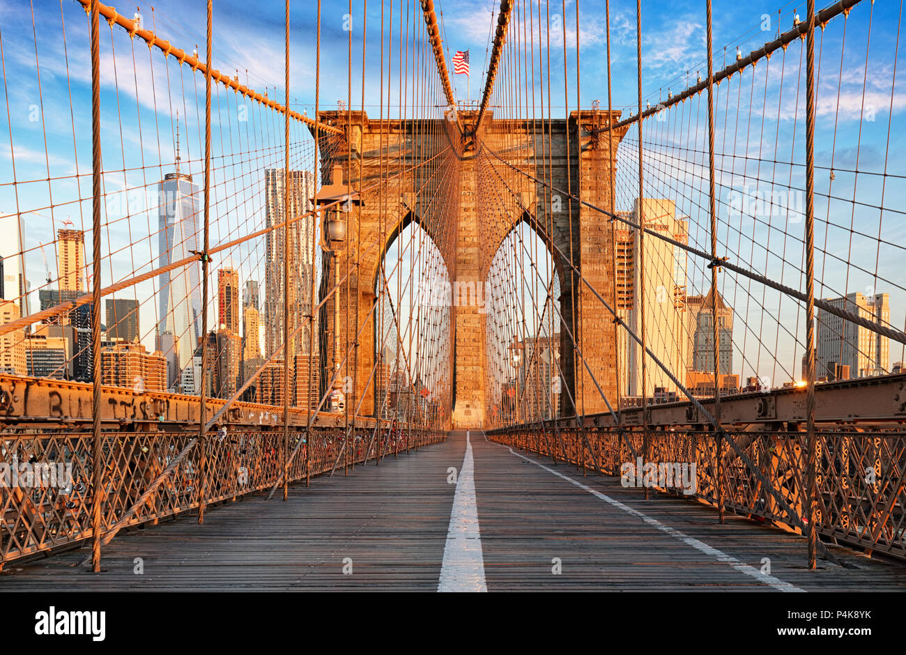 Pont de Brooklyn, New York City, personne ne Photo Stock