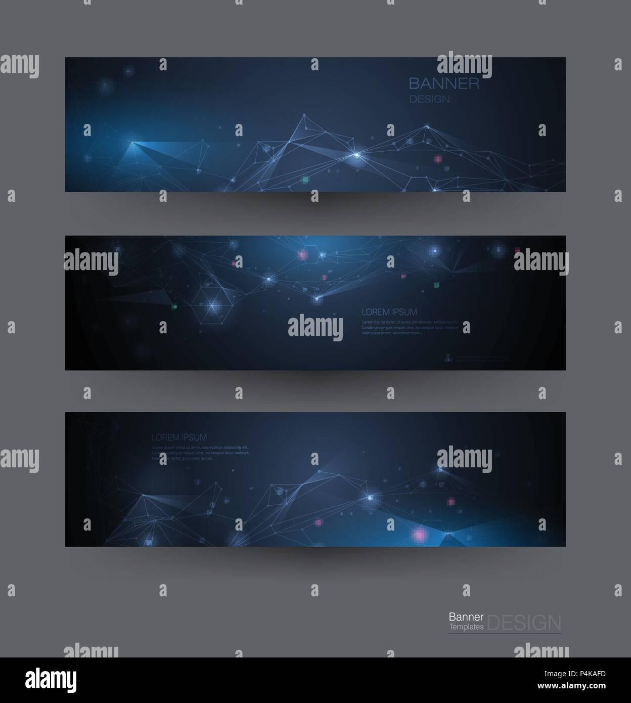 Molécules abstraites avec bannières,Cercles,lignes,géométrique Polygone. Arrière-plan de communication réseau conception de scénario. Digital science techno futuriste Illustration de Vecteur