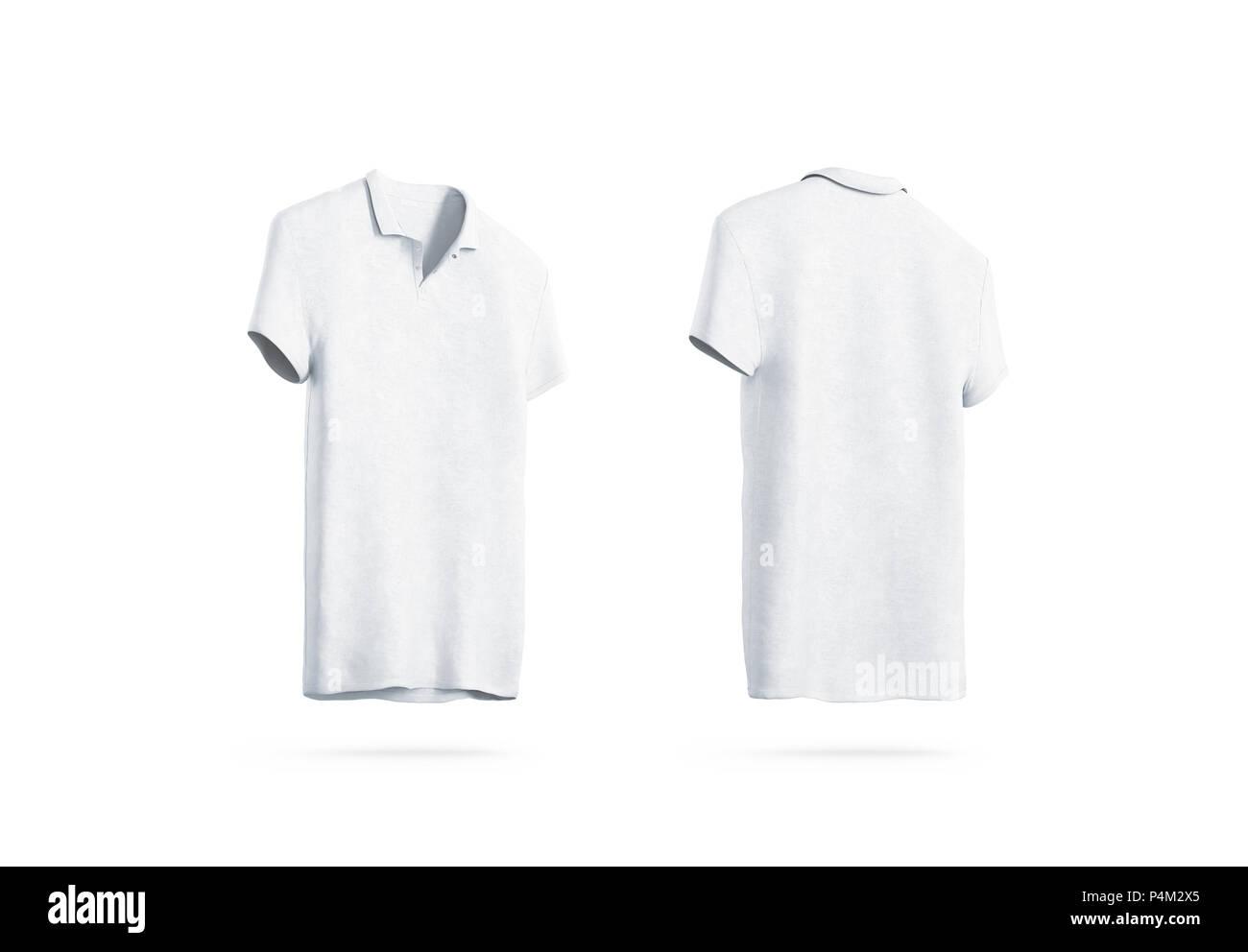 Polo blanc isolé maquette, l'avant et arrière, en 3d le rendu. T-shirt sport vide maquette uniforme. Modèle de conception de vêtements simples. Clair coton robe avec col et manches courtes. Photo Stock