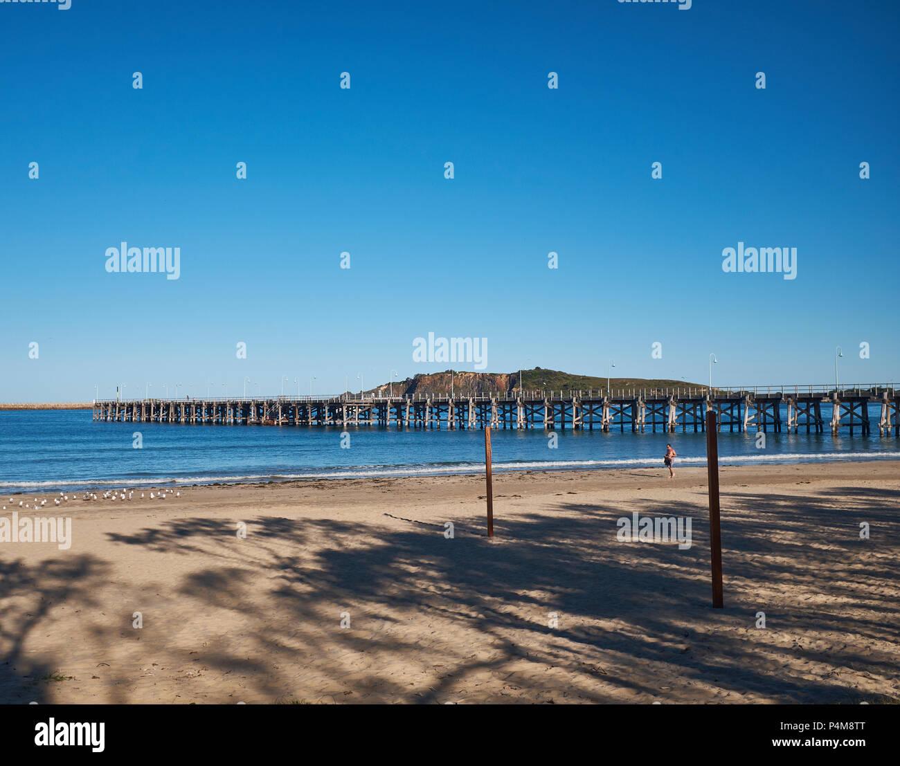 Vue de la jetée en bois de la jetée Plage avec Muttonbird Island dans l'arrière-plan avec un ciel sans nuages, Coffs Harbour, Nouvelle-Galles du Sud, Australie Photo Stock