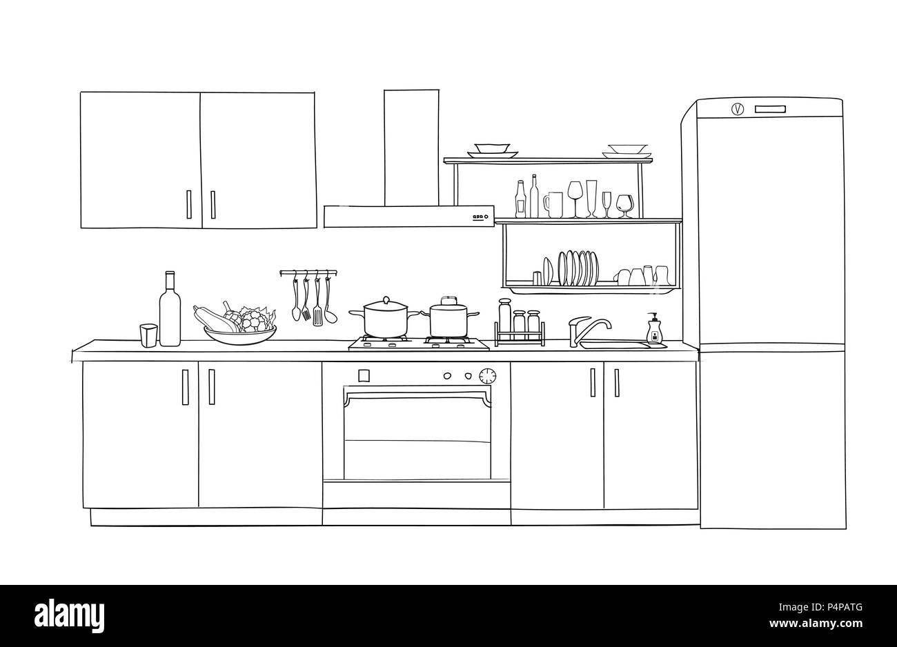 Croquis De L Interieur De La Salle De Cuisine Plan Directeur Plan