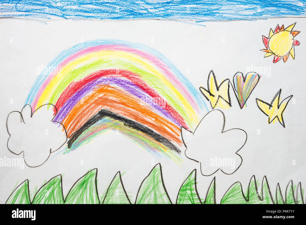 Kid S Colores Dessin D Un Arc En Ciel Banque D Images Photo Stock