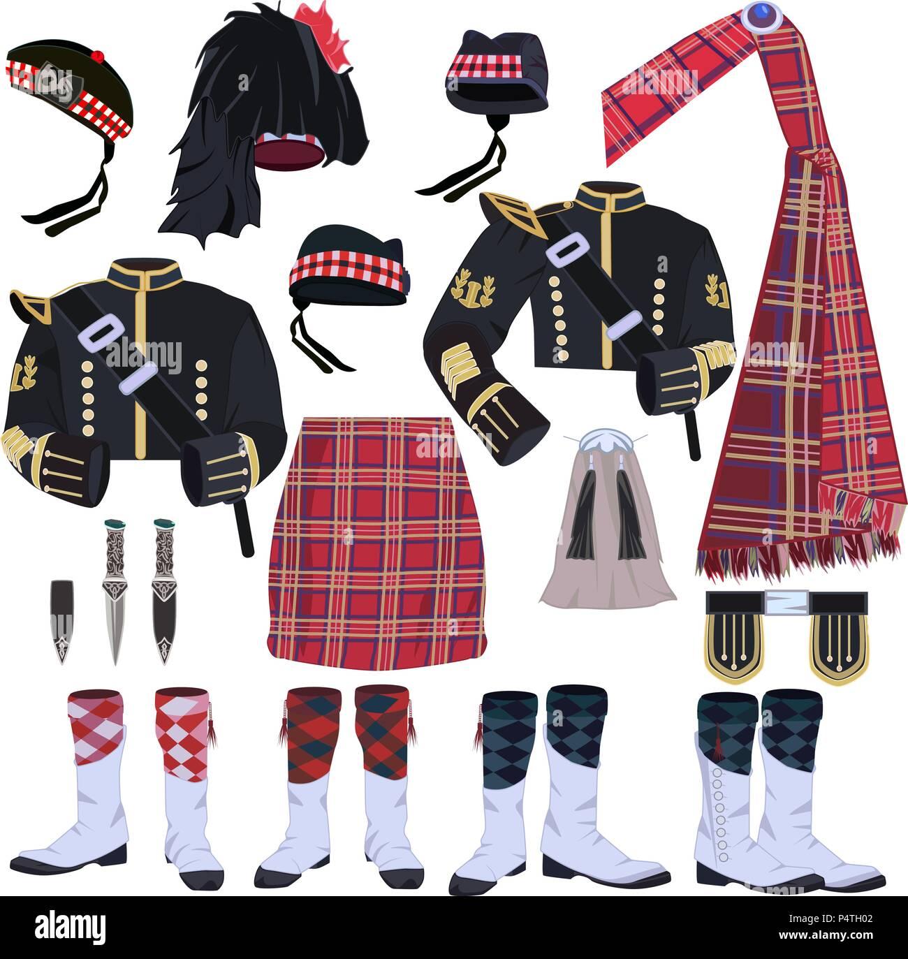 Vector Et Set Vecteurs Écossais Icon Traditionnels Vêtements XOuPikZ