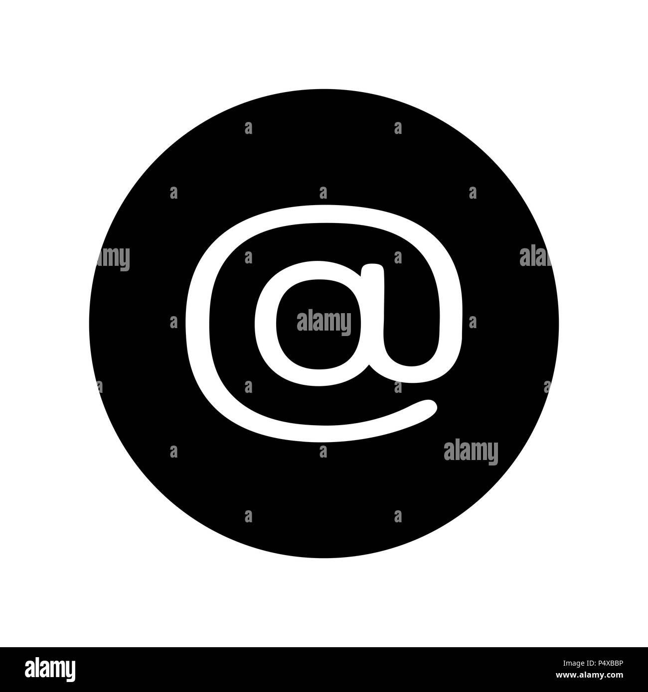 Icône e-mail in black circle. Le symbole E-mail Photo Stock