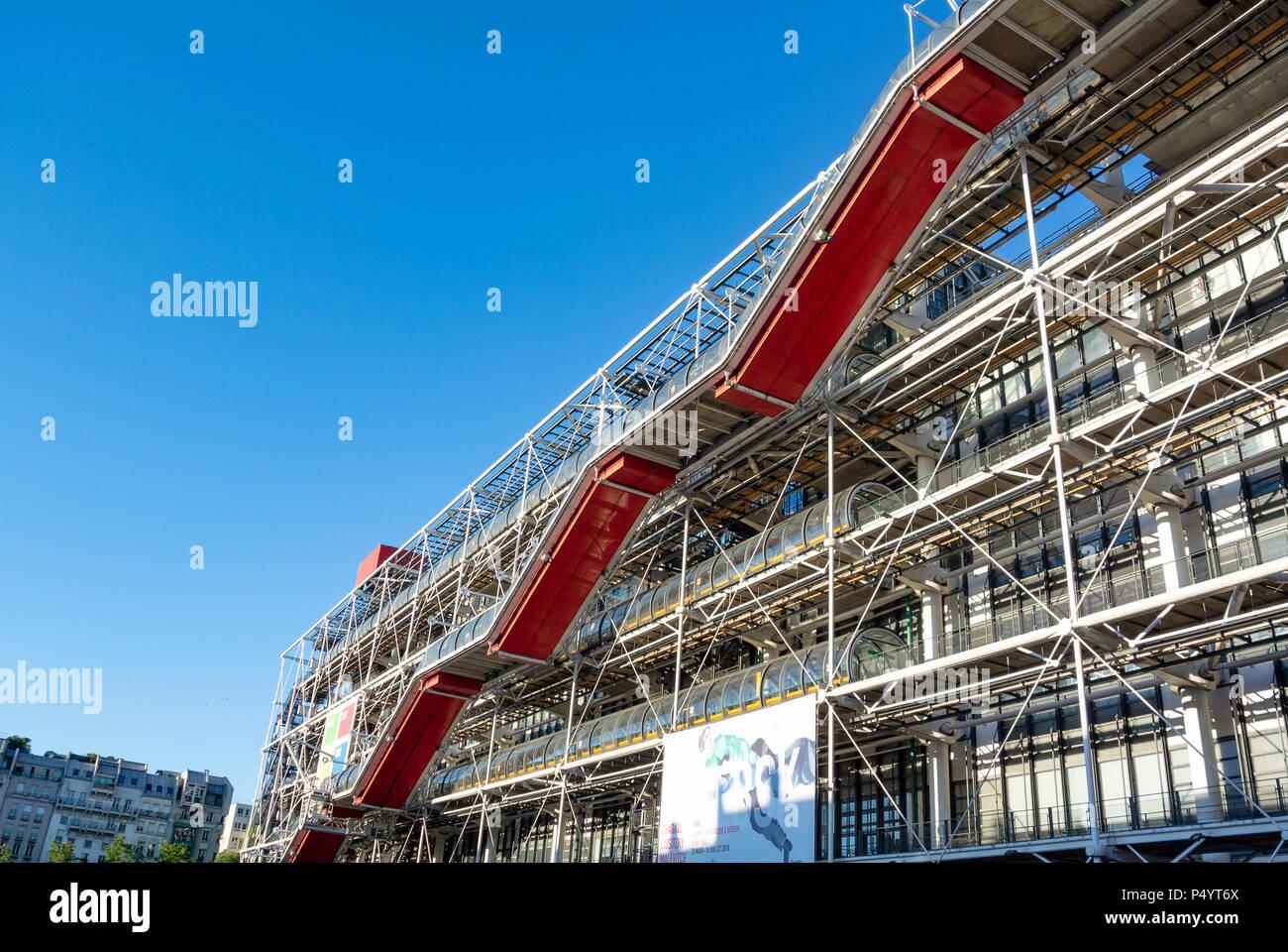 Centre Georges Pompidou, aussi connu sous le nom de Centre Pompidou, quartier de Beaubourg, 4e arrondissement, Paris, IDF, France Photo Stock