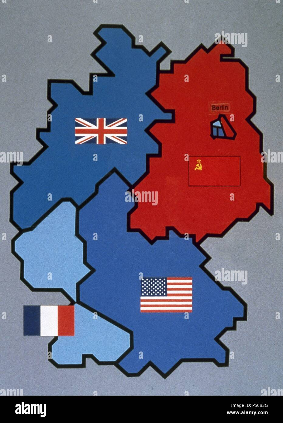 Carte Allemagne Occupee 1945.Carte De L Allemagne Occupee Par Les Allies 1945 1949