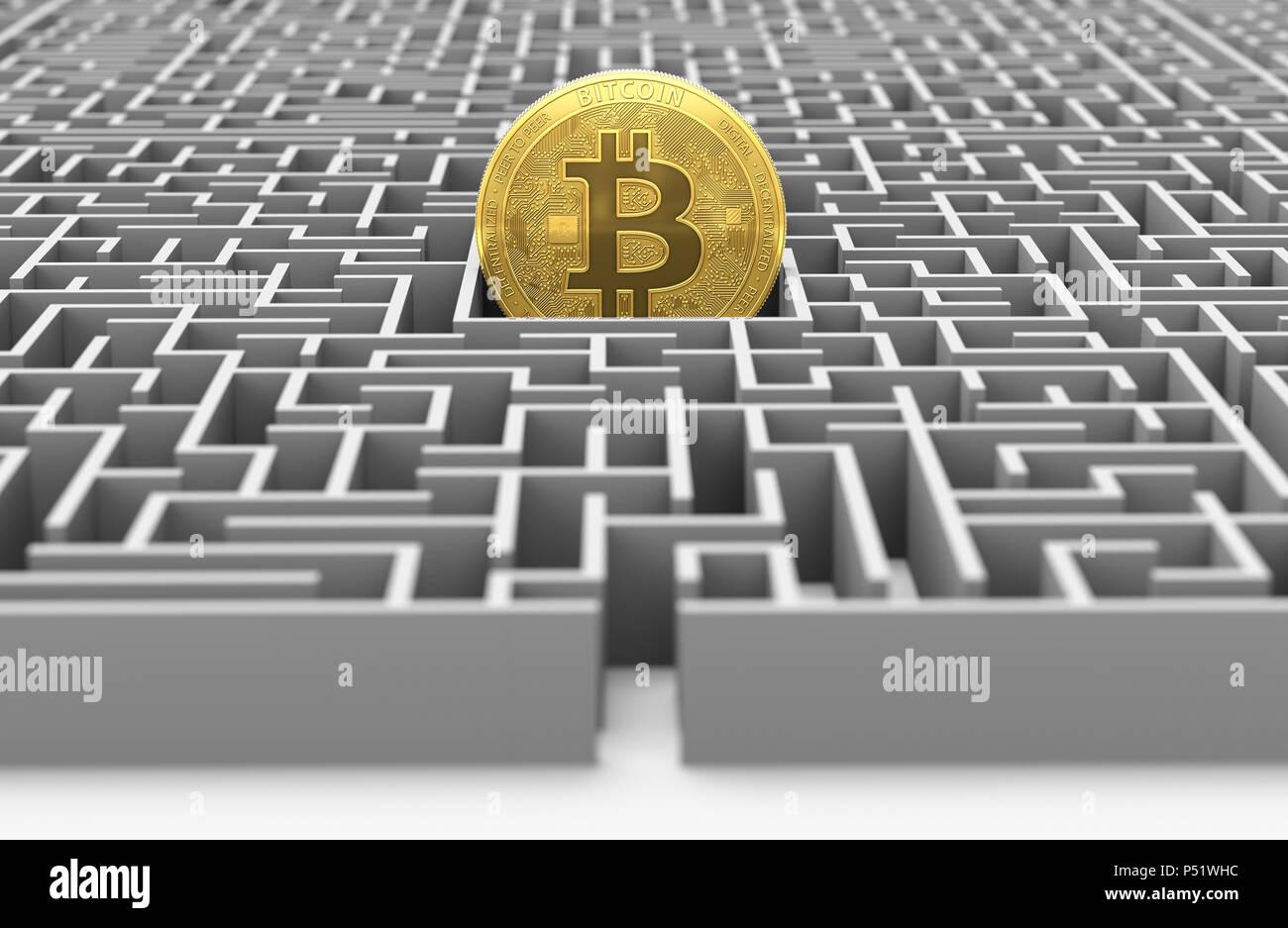 Dans le labyrinthe des bitcoins. D'une conception. Le rendu 3D Banque D'Images