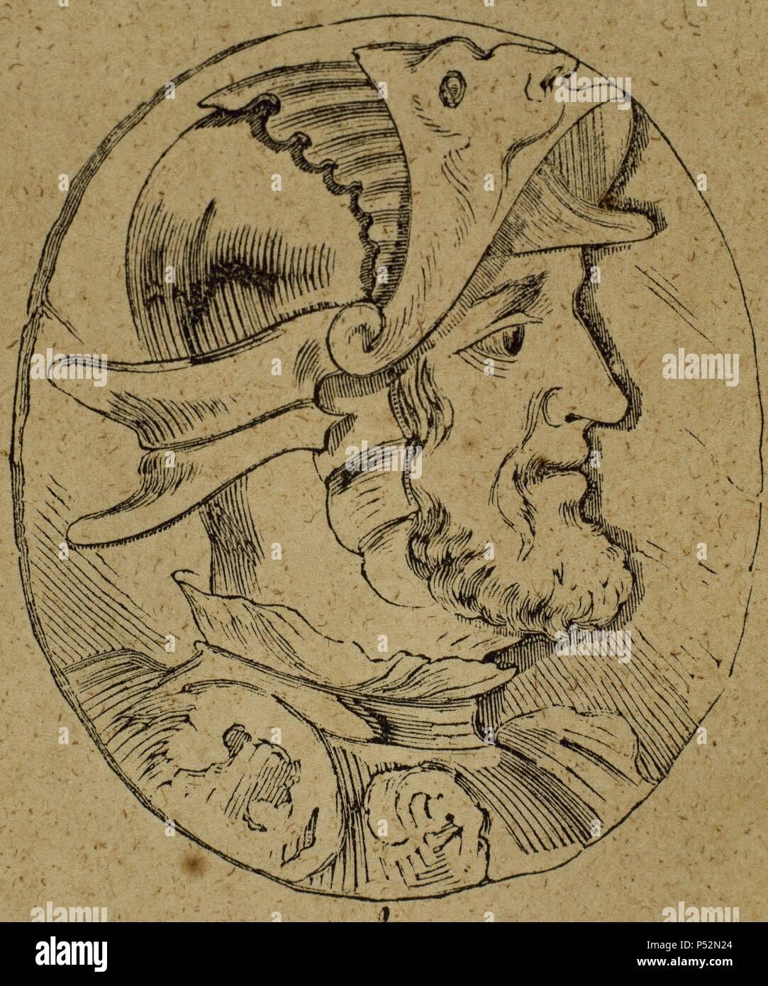 Sancho I De Leon (932-966). Roi de Leon (Espagne). Portrait. La gravure. Photo Stock