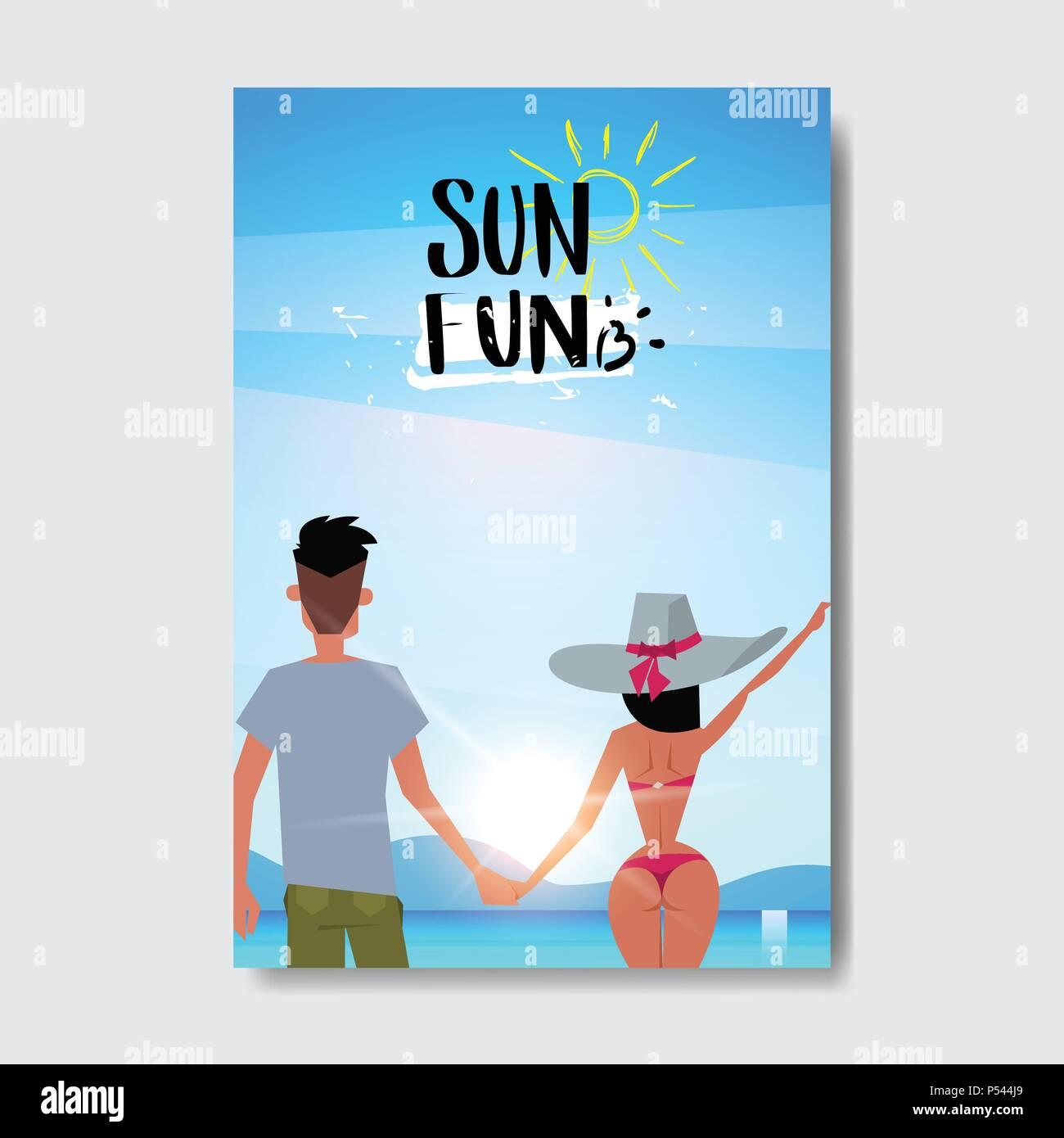 Amour dété homme femme couple holding hands à lever du soleil vue arrière se détendre plage paysage design badge label logo lettrage pour les vacances