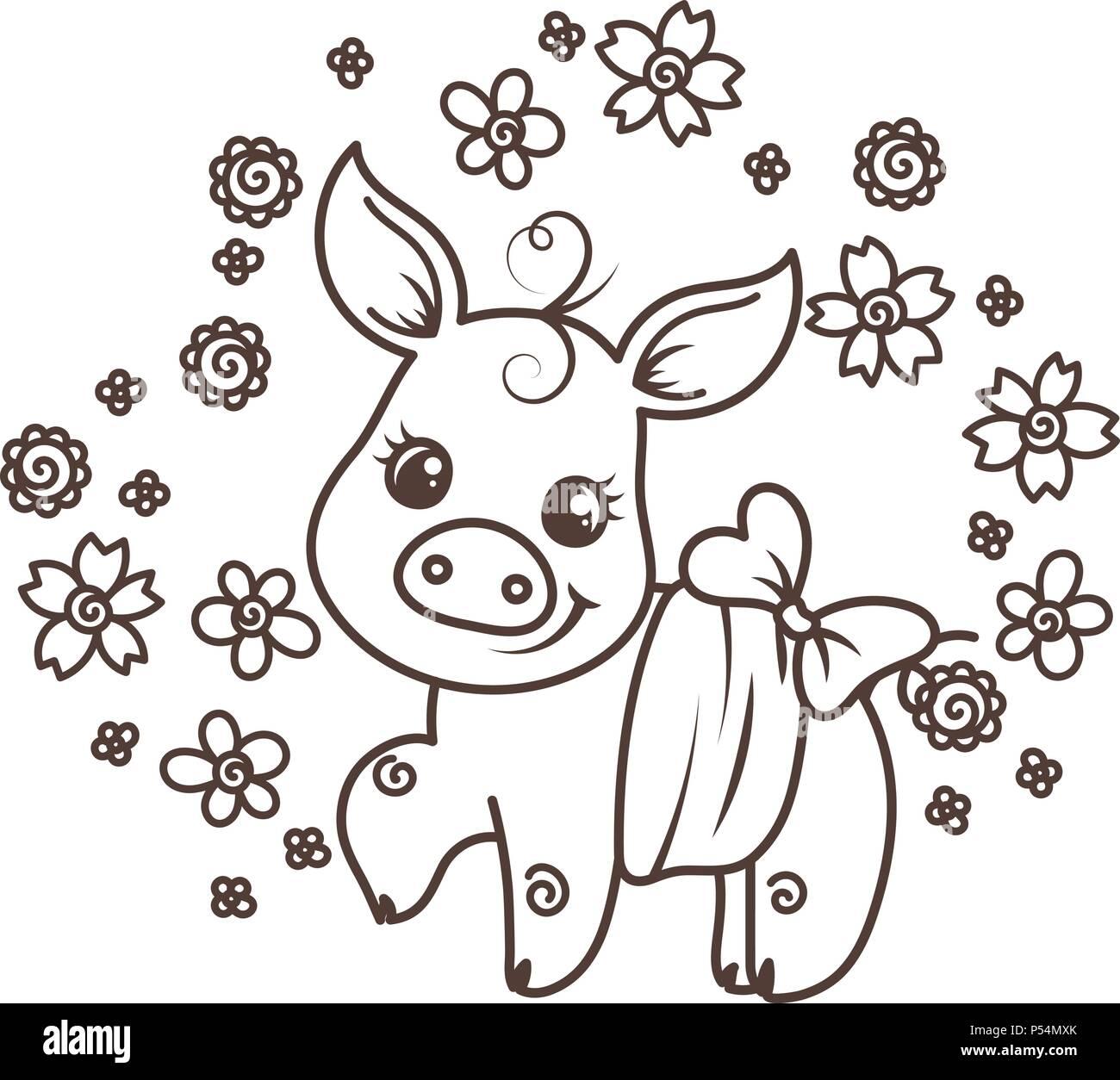Coloriage Bebe Fleurs.C Est Une Fille C Est Un Garcon Cute Cartoon Bebe Cochons Sur Un