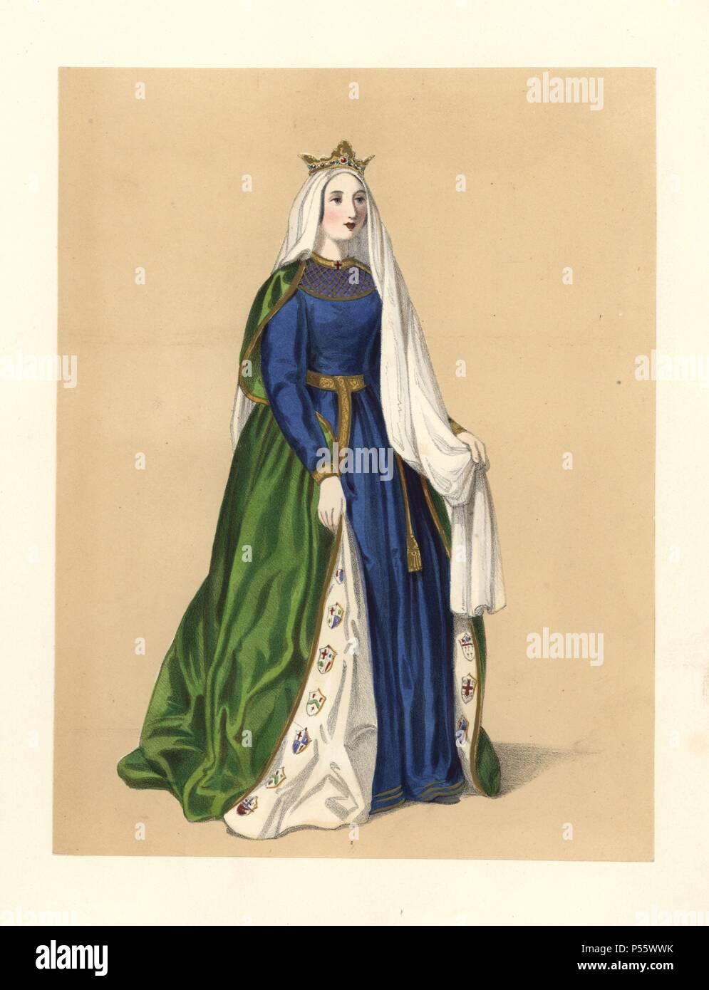 be69bfa5653d6 robe-du-regne-du-roi-richard-i-le-lion-11891199-elle -porte-un-manteau-vert-brode-avec-des-armoiries-dune-robe-bleue-long-voile-blanc-et-couronne- base-sur- ...