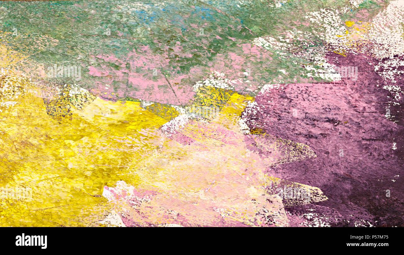 La peinture abstraite texturée. Fond peint à la main. Jaune, rose ...