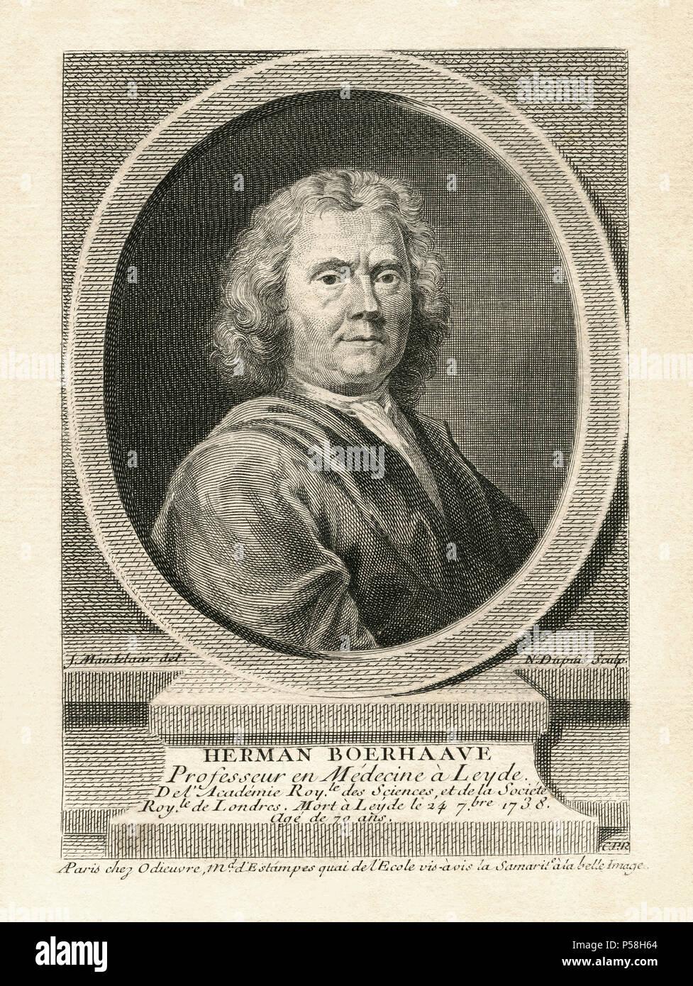 Herman Boerhaave (1668-1738), botaniste néerlandais, chimiste, médecin et humaniste chrétien, Tête et épaules Gravure Photo Stock