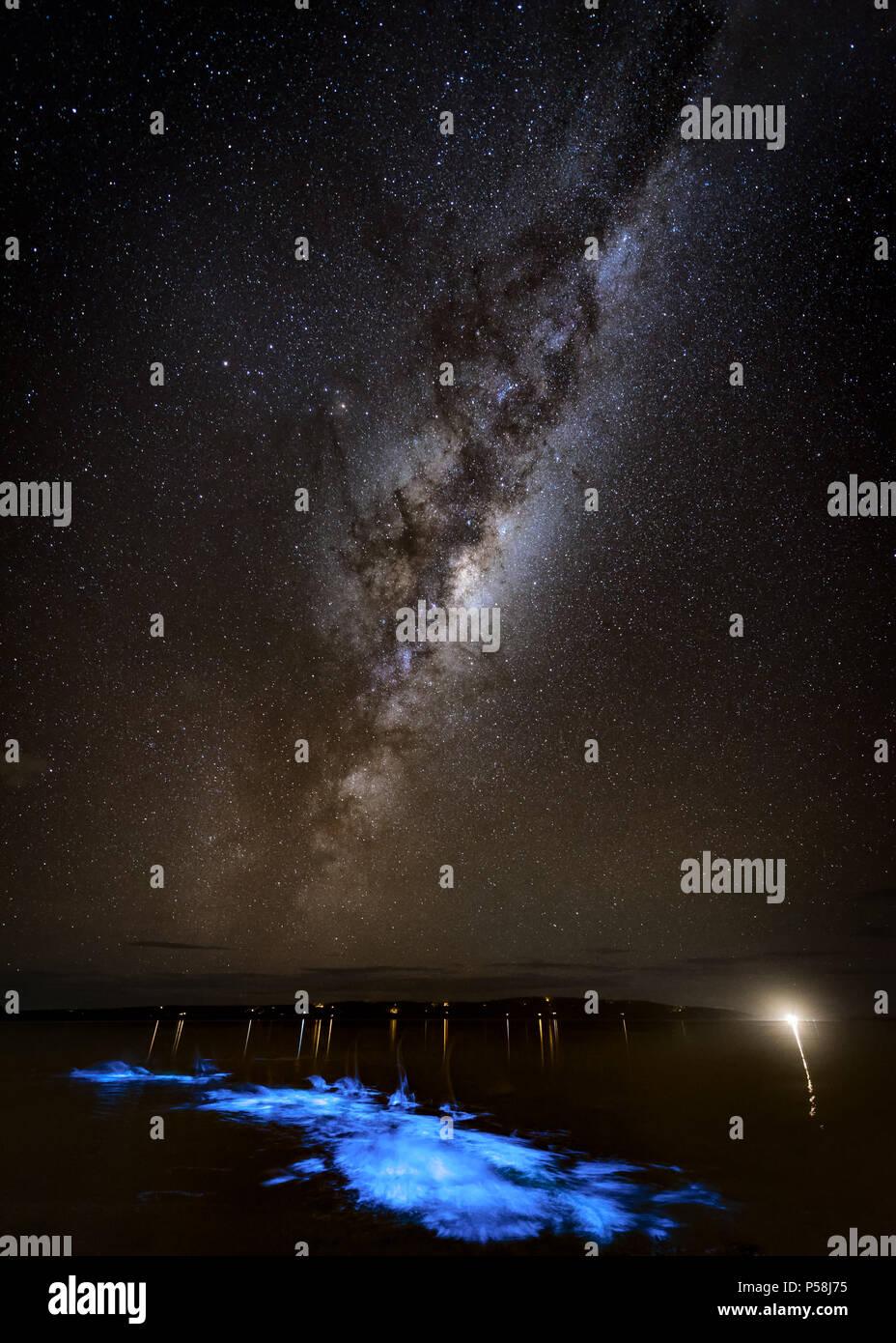 Kayak en Bioluminescence sous la Voie Lactée Banque D'Images
