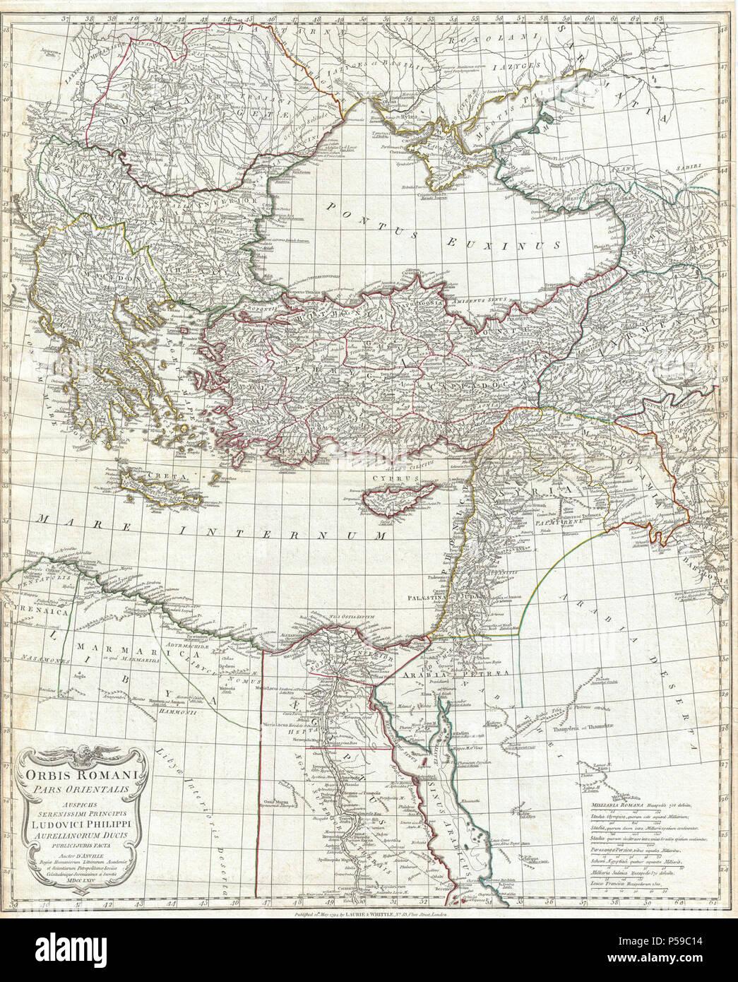 1794 Anville Site de l'Empire romain (inclues) - Grèce - Geographicus-RomanEmpireEast anville-1794. Photo Stock