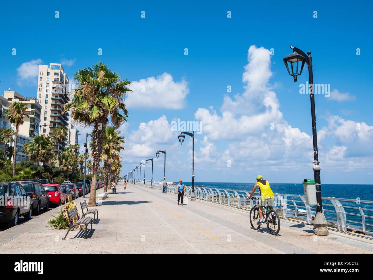 Afficher le long de la Corniche de Beyrouth, Liban. Photo Stock