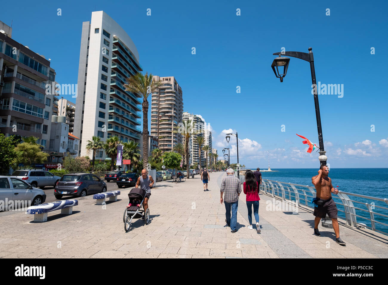 Afficher le long de la Corniche de Beyrouth, Liban. Photo Stock