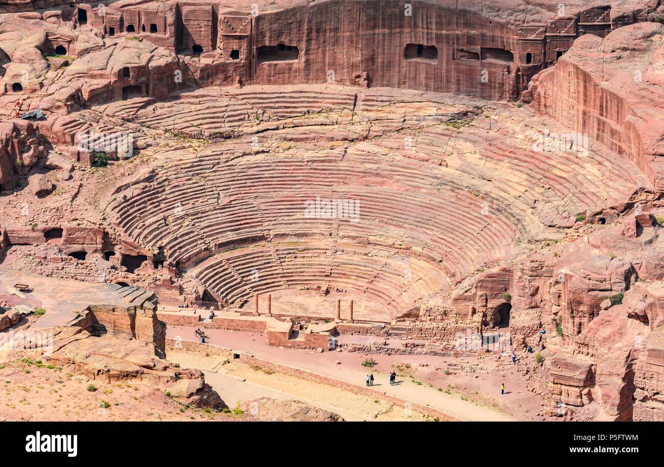 Théâtre romain à la cité perdue de Petra, Jordanie Photo Stock