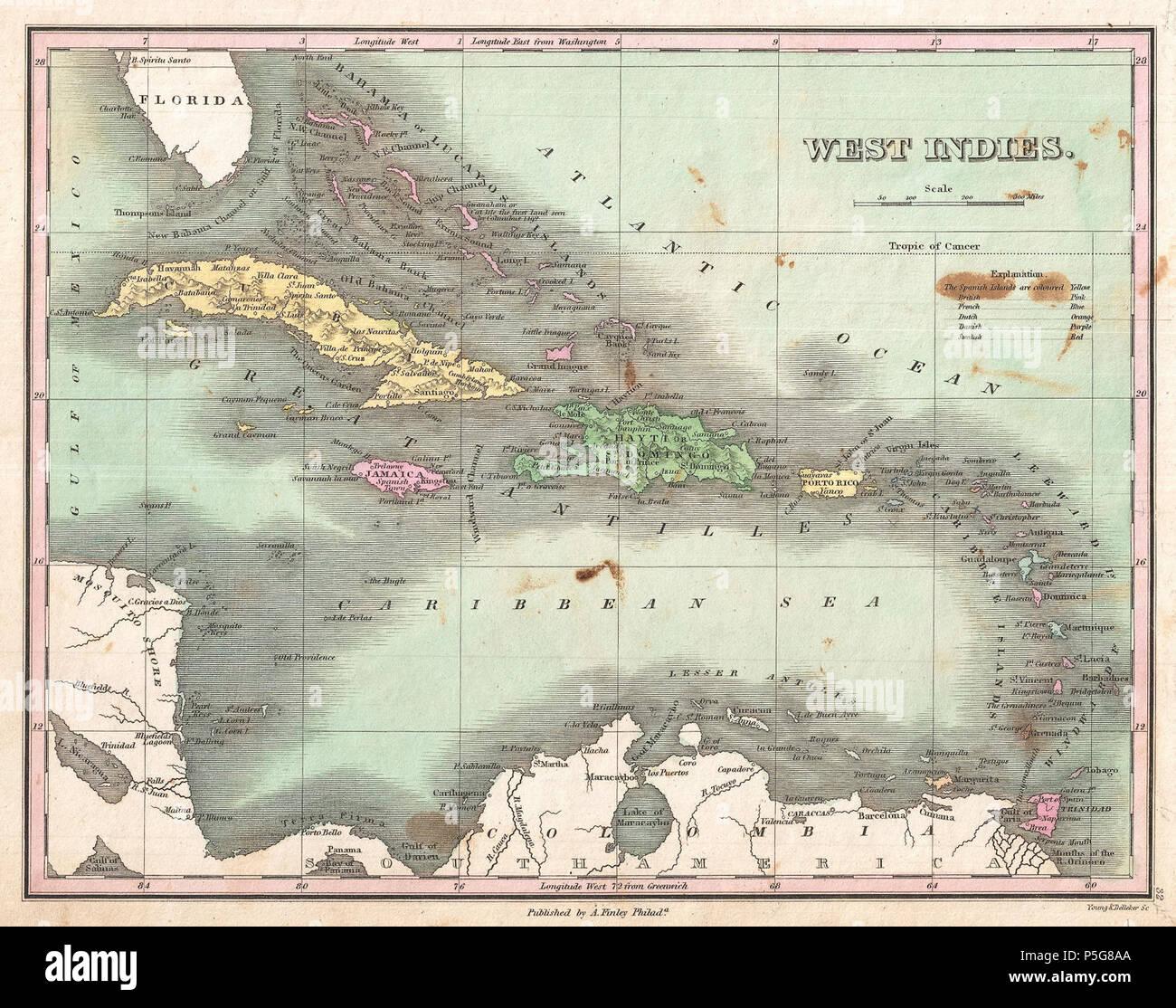 1827 Finley Site des Antilles, des Caraïbes, et Antilles - Geographicus - WestIndies-finley-1827. Banque D'Images