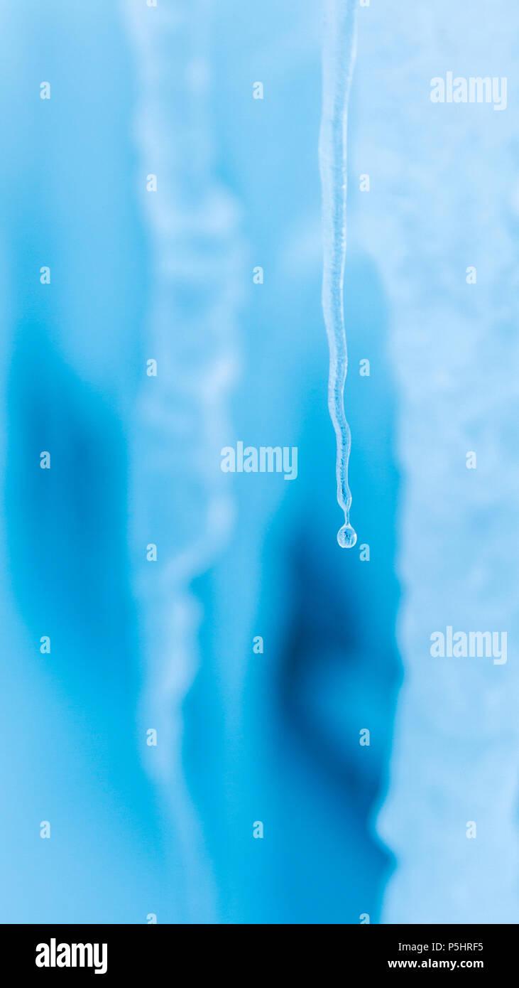 L'eau de fusion de glaçons dans la glace de mer, l'île de Ross, en Antarctique Photo Stock