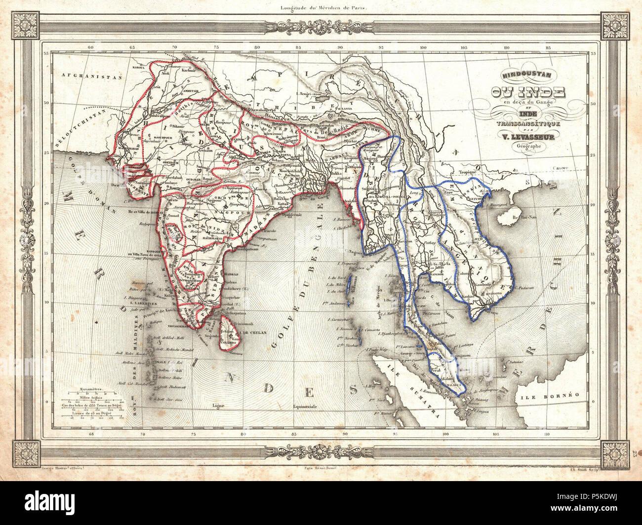 Carte Du Sud Est De Linde.Levasseur 1852 Carte De L Inde Et Le Sud Est De L Asie Inde