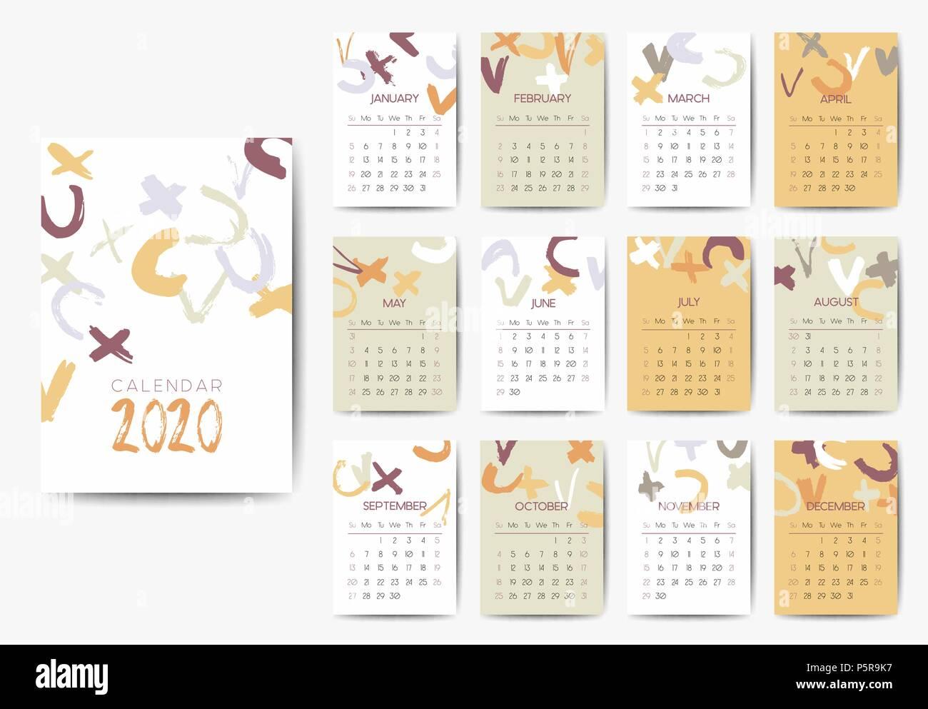 Modele De Calendrier 2020.Le Modele De Calendrier 2020 Vecteurs Et Illustration Image