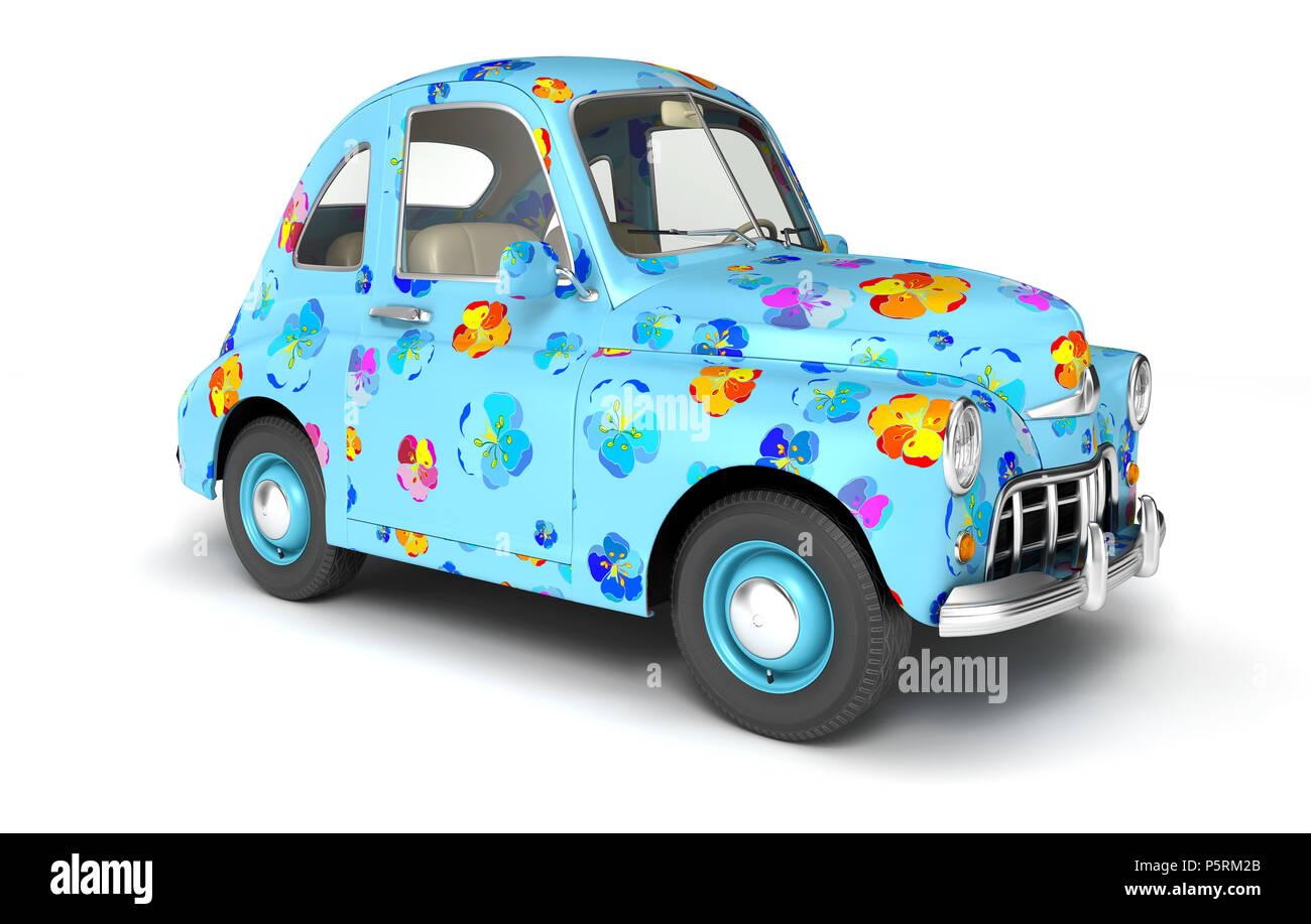 Voiture Dessin Animé Bleu Avec Fleurs 3d Illustration