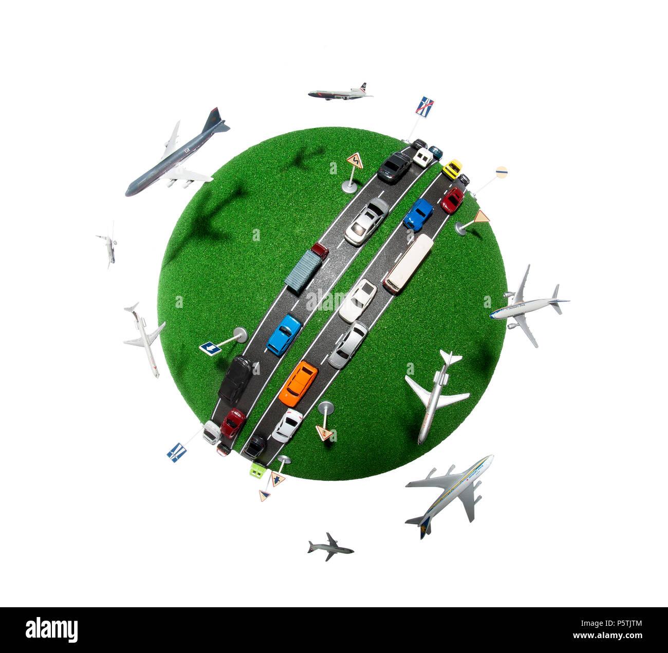 Une représentation de la planète montrant la pollution de l'activité humaine et les voyages. Photo Stock