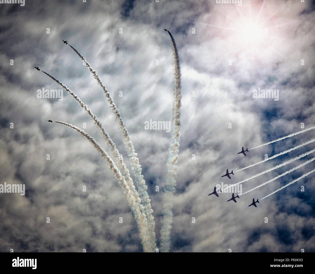 Grande-bretagne: l'équipe de voltige aérienne de la Royal Air Force Photo Stock