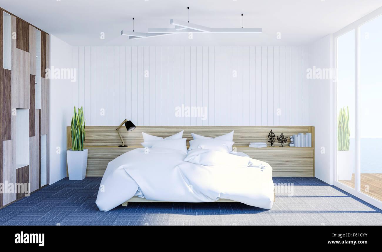 Chambre A Coucher Contemporaine Moderne Blanc Interieur Avec