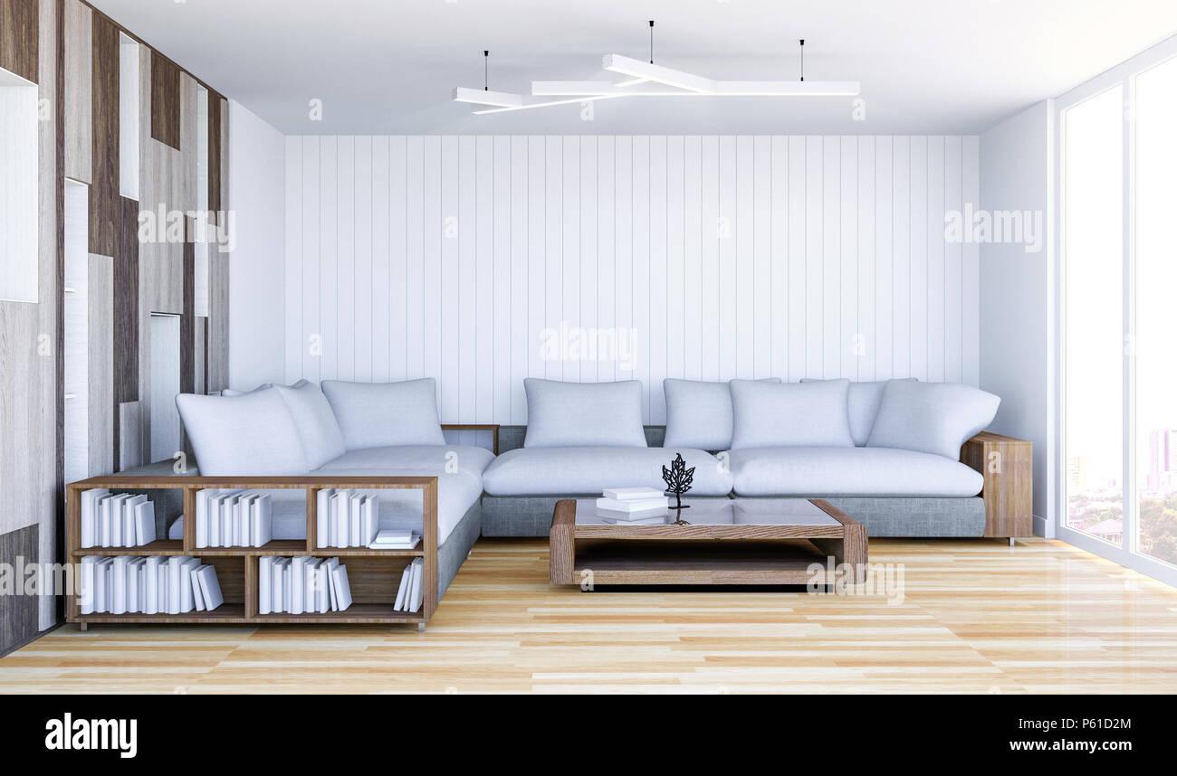 Salon contemporain blanc avec intérieur mur vide, 3D ...