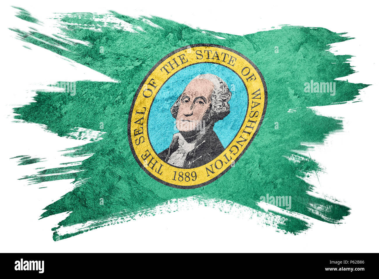 L'état de Washington Grunge flag. Drapeau Washington coup de pinceau. Banque D'Images